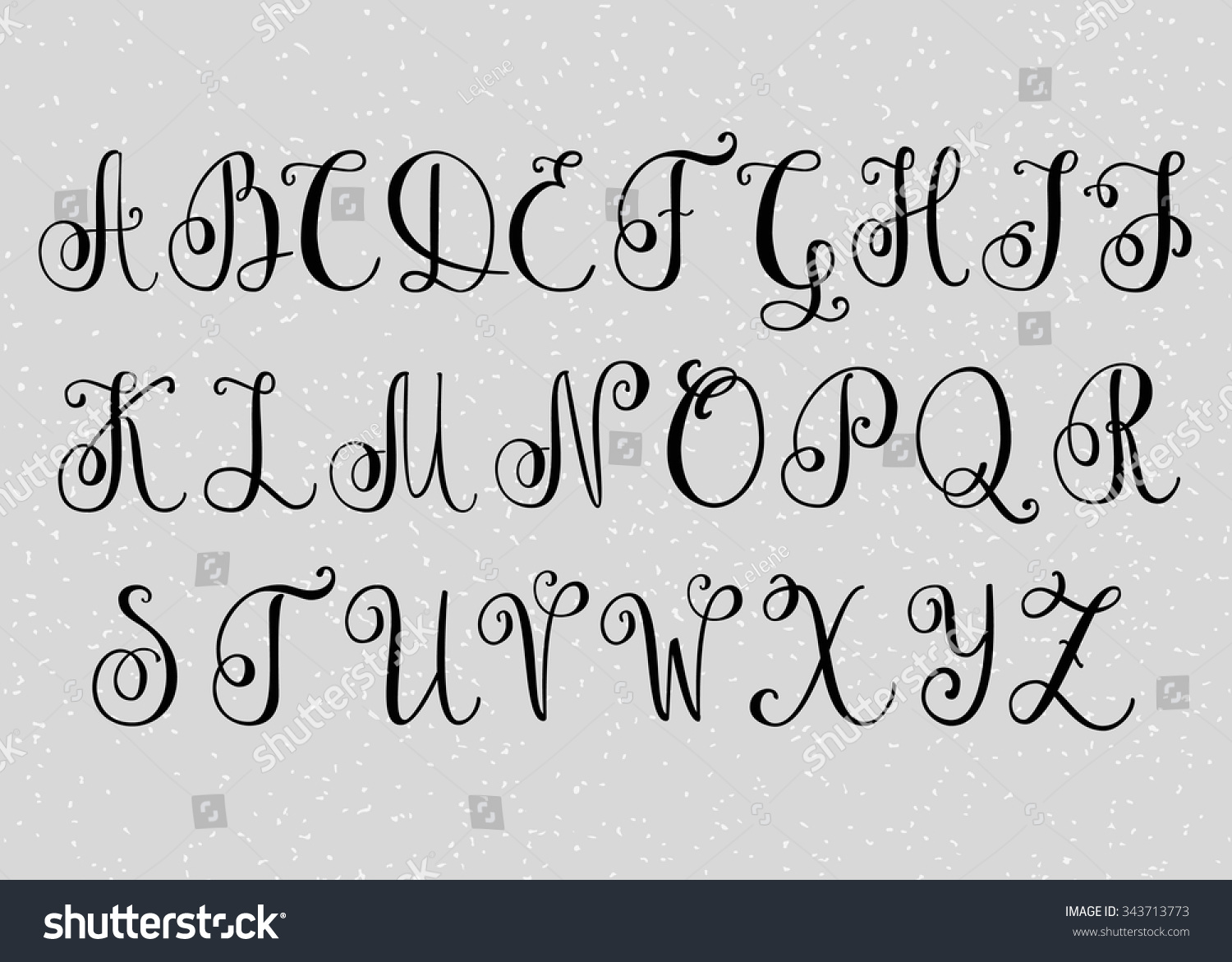 Handwritten Brush Flourish Font Capital Letters Stock