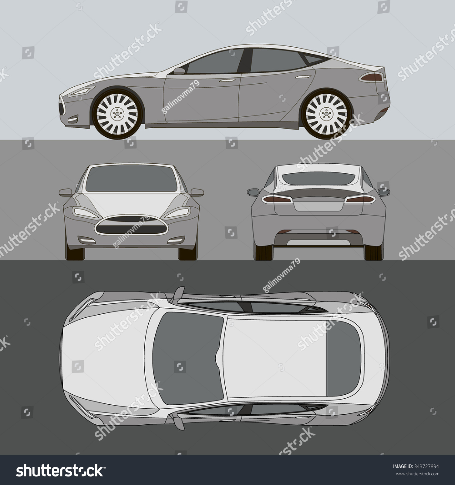 car all view top front side stock vektor 343727894 shutterstock. Black Bedroom Furniture Sets. Home Design Ideas