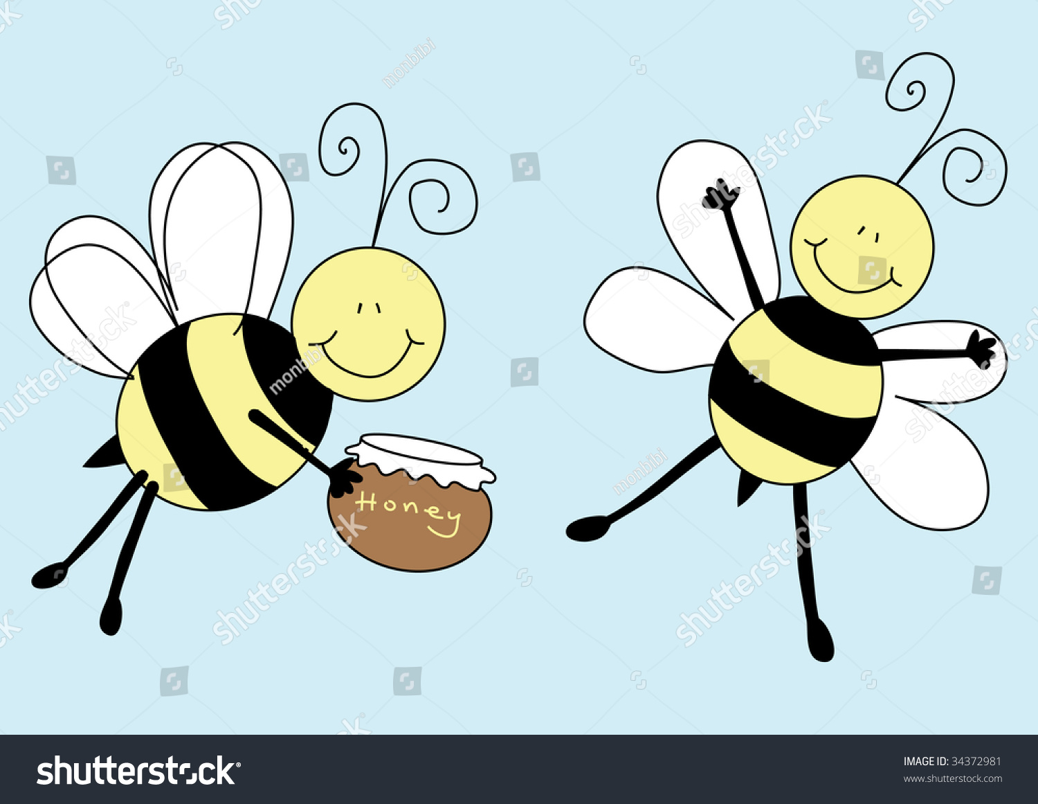illustration featuring pair cartoon bees holding stock