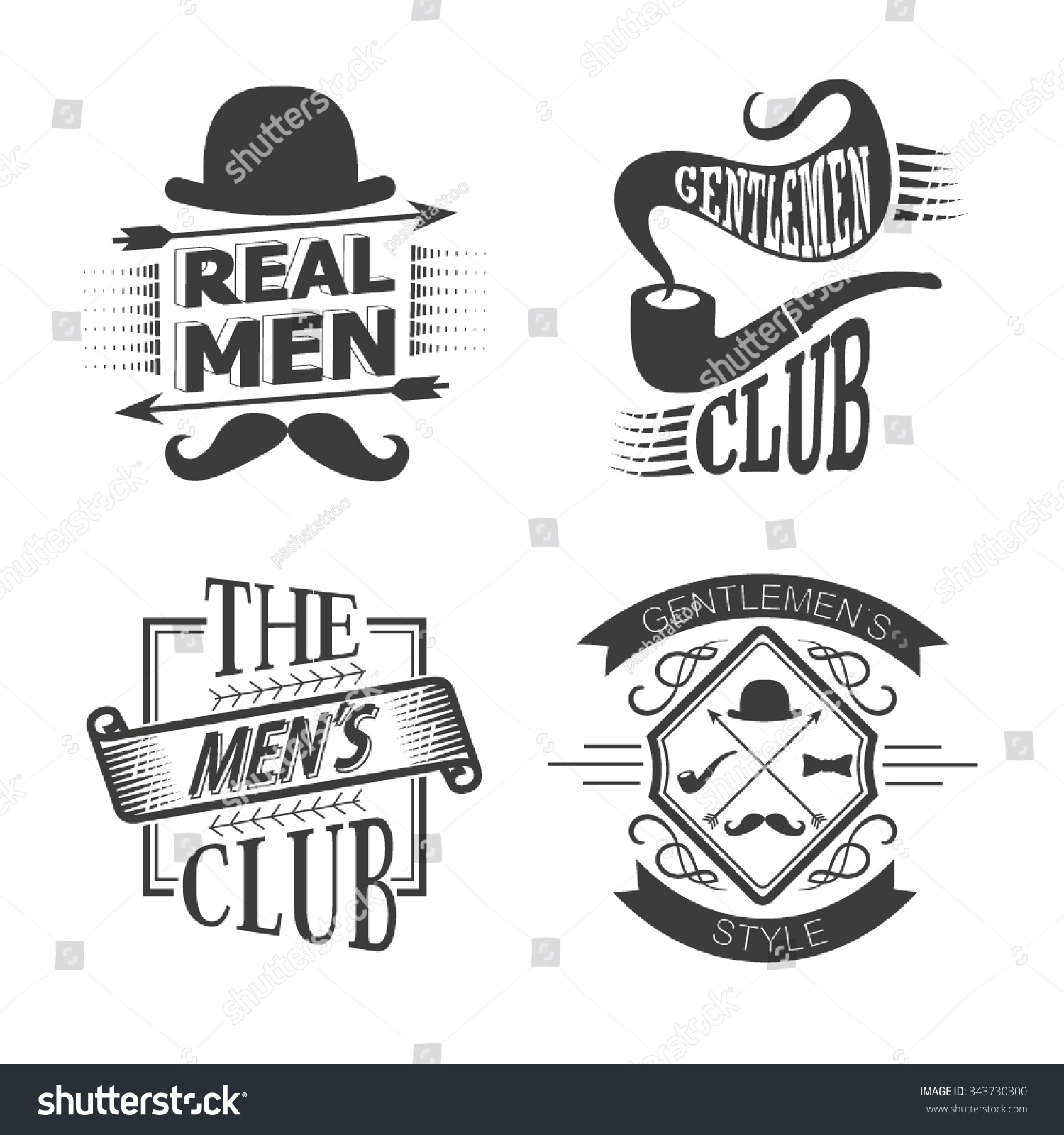 set of vintage gentlemen club design elements men 39 s emblems vector set of gentlemen 39 s club. Black Bedroom Furniture Sets. Home Design Ideas