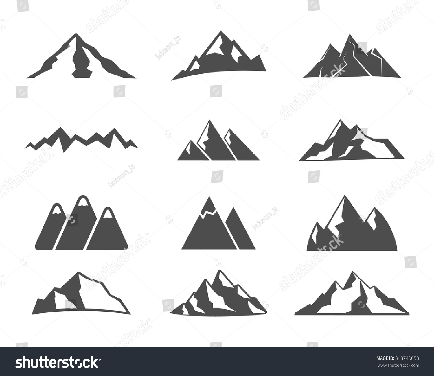 Set of mountain silhouette elements Outdoor icon Hand drawn snow ice mountain tops decorative symbols isolated Use them for camping logo travel labels climbing or hiking badges Vector