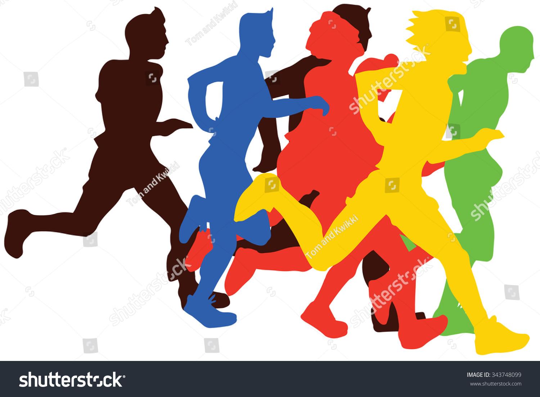 Group Of Flat Man Marathon Runnerscolors Vector