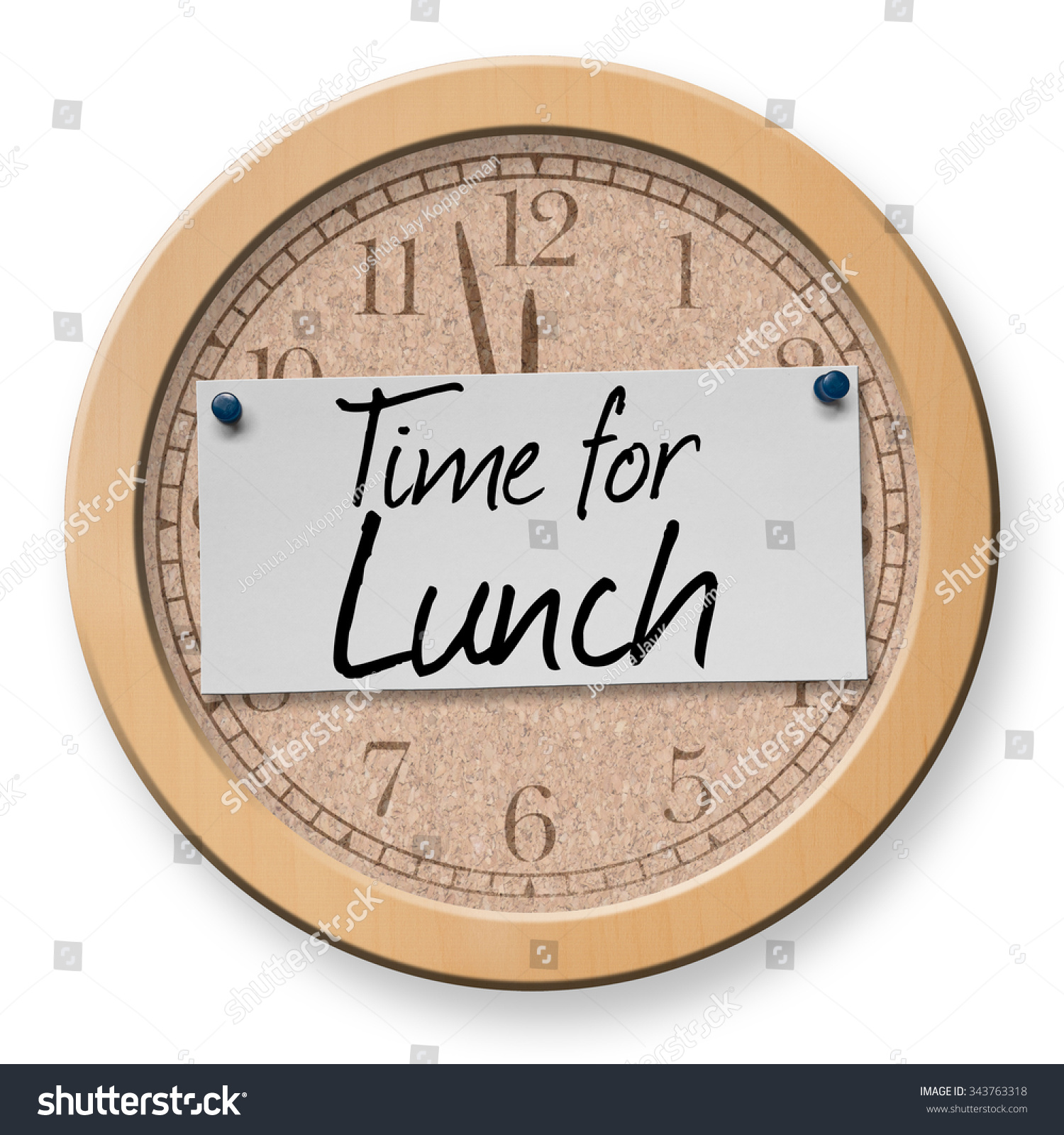 Time Lunch Text On Clock Bulletin Stock Photo Royalty Free 343763318