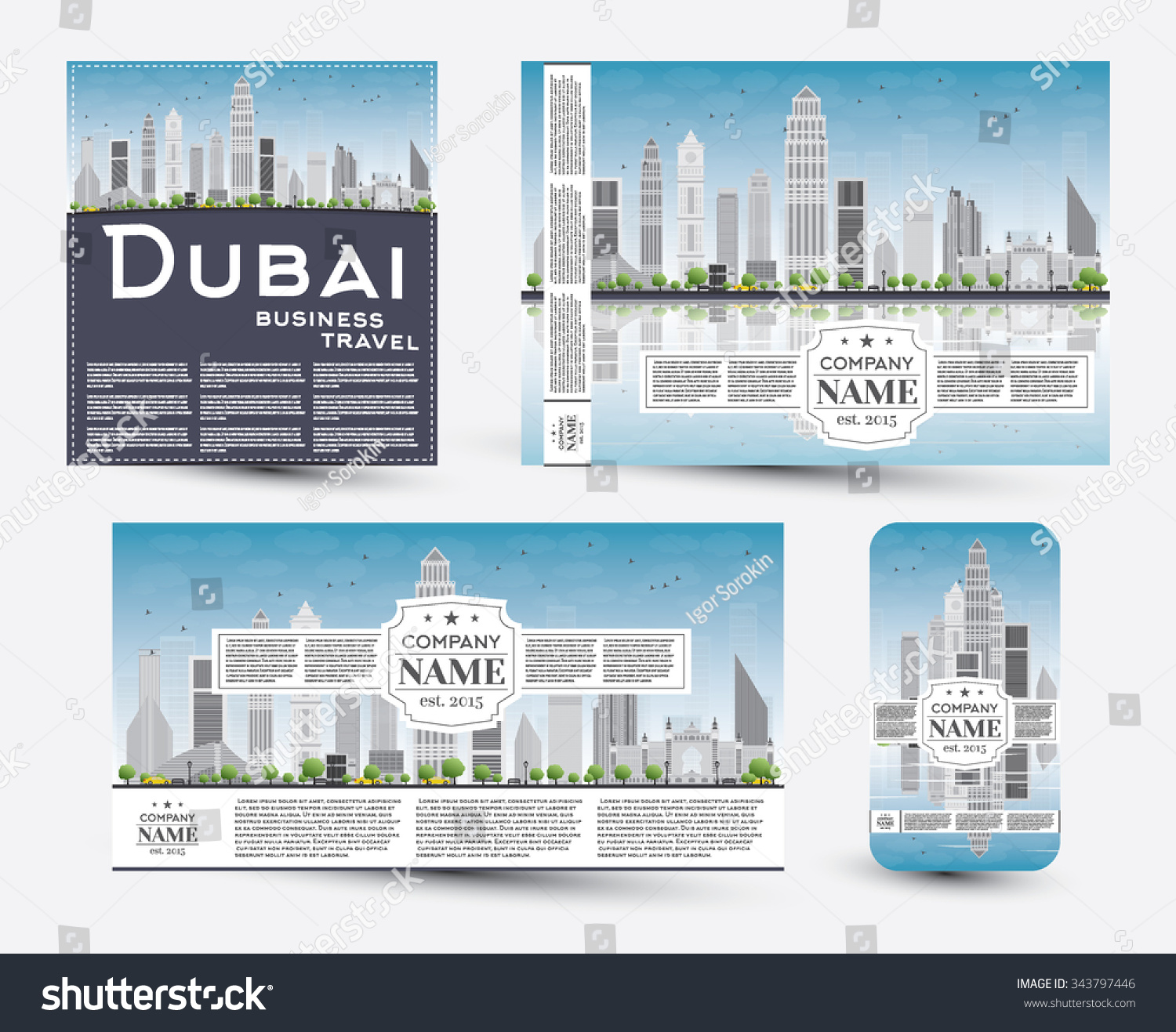 Corporate Identity Templates Set With Dubai Skyline Vector Illustration Business Travel And Tourism Concept