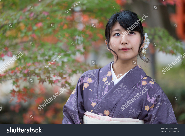 beautiful japanese girl seasonal kimono traditional stock photo