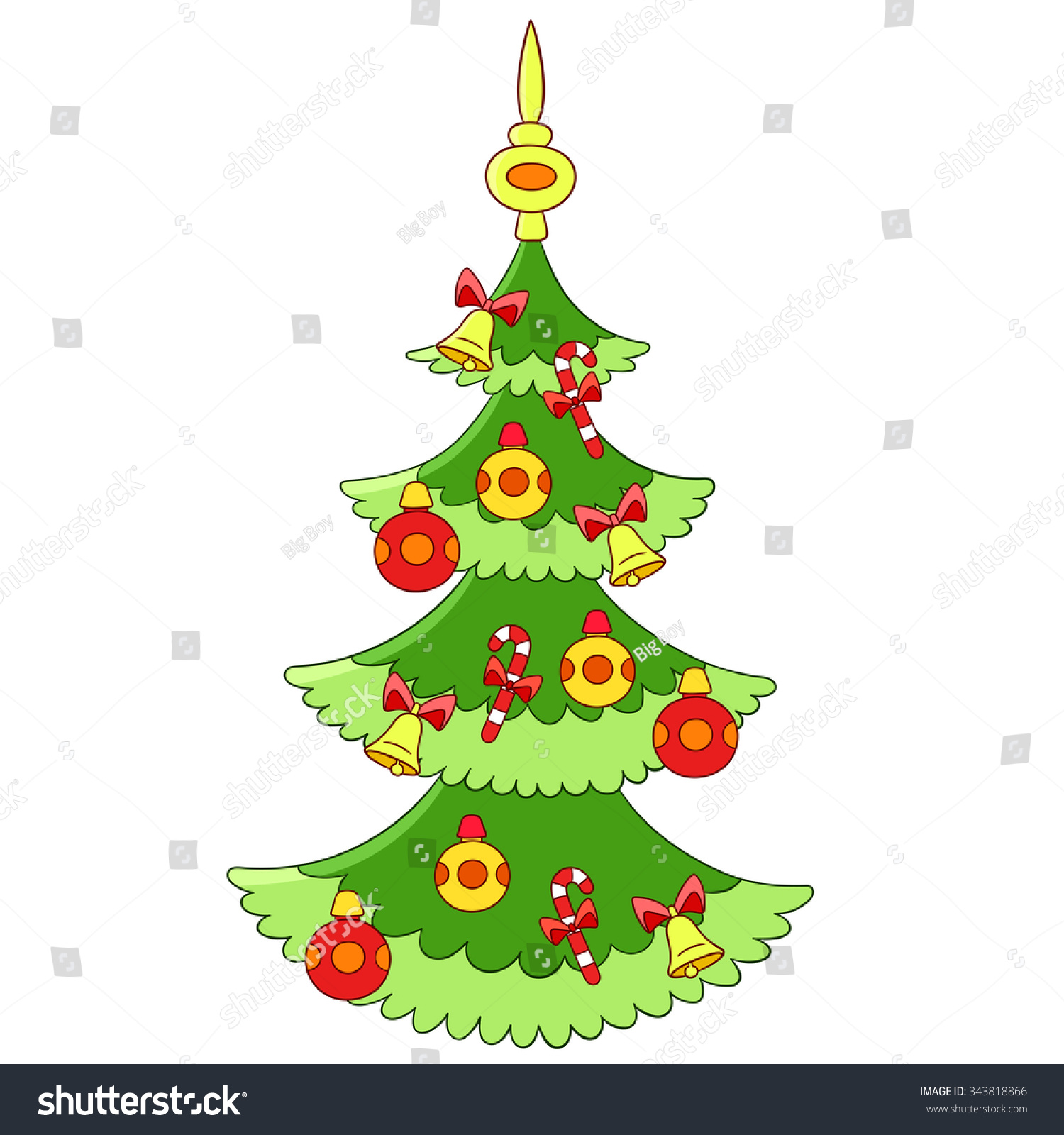 Christmas Tree Baubles Candy Sticks Jingle Stock Vector 343818866 ...