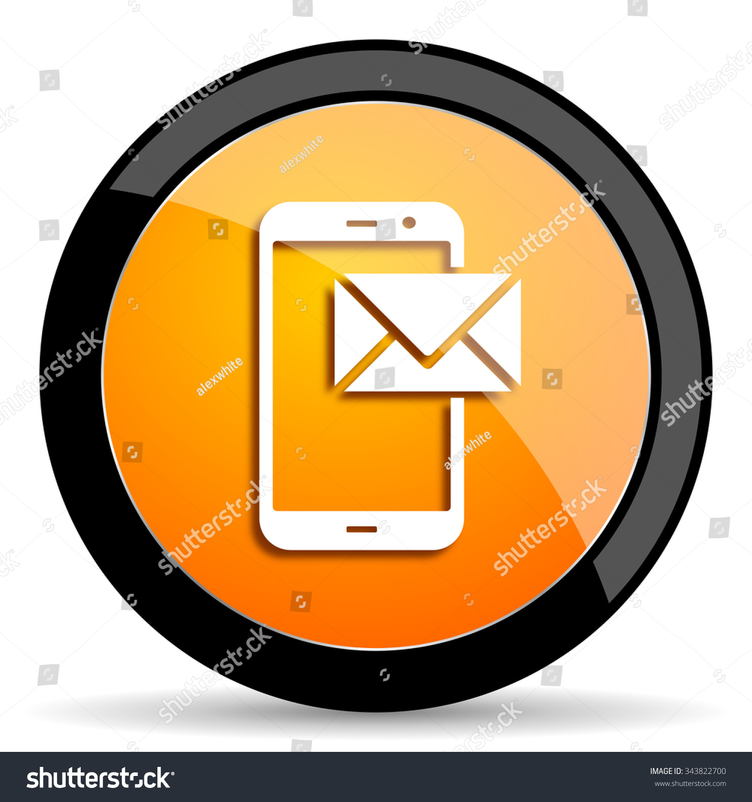 mail orange icon #343822700