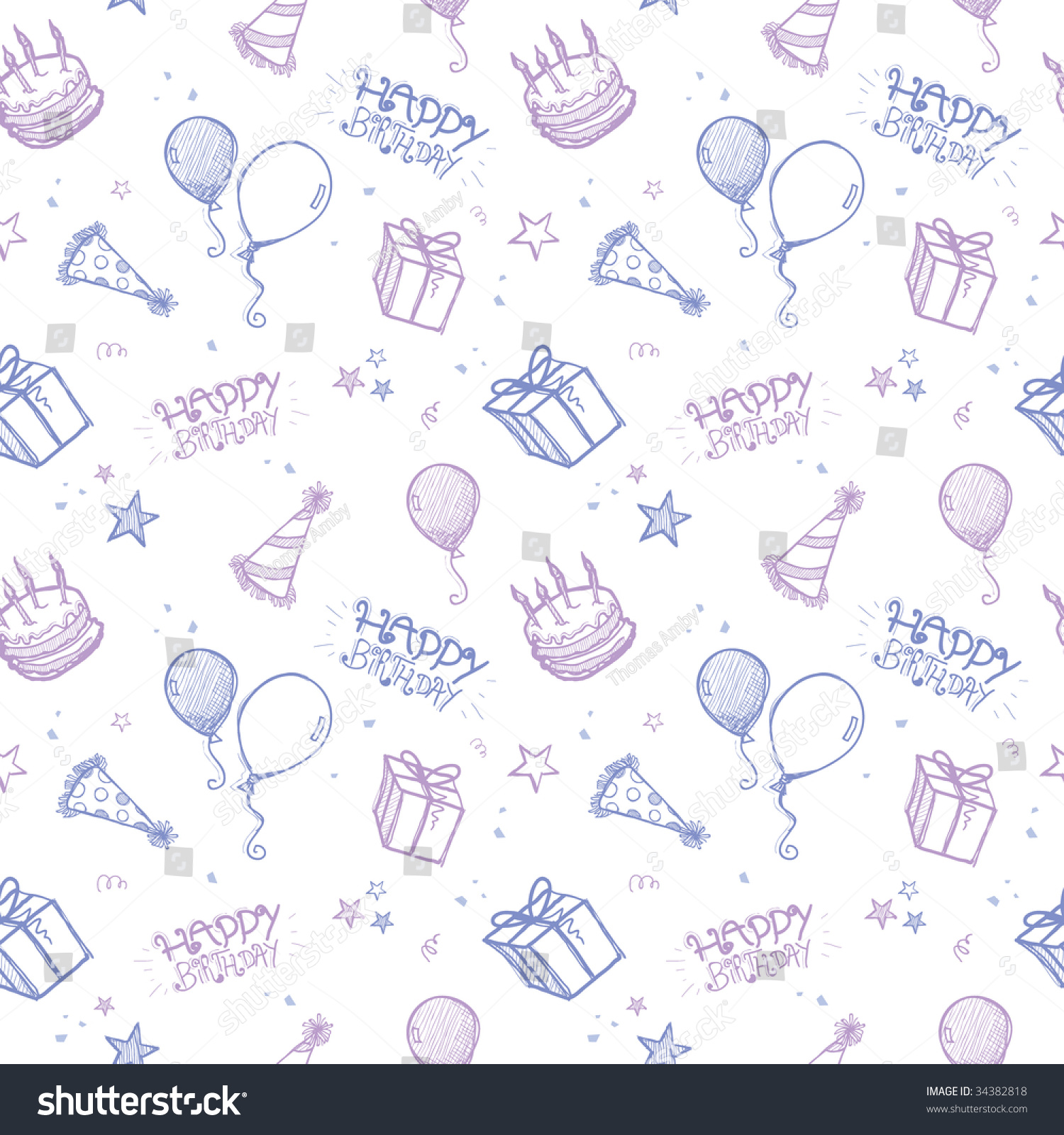 Seamless Hand Drawn Vector Background Birthday Stock Vector 34382818