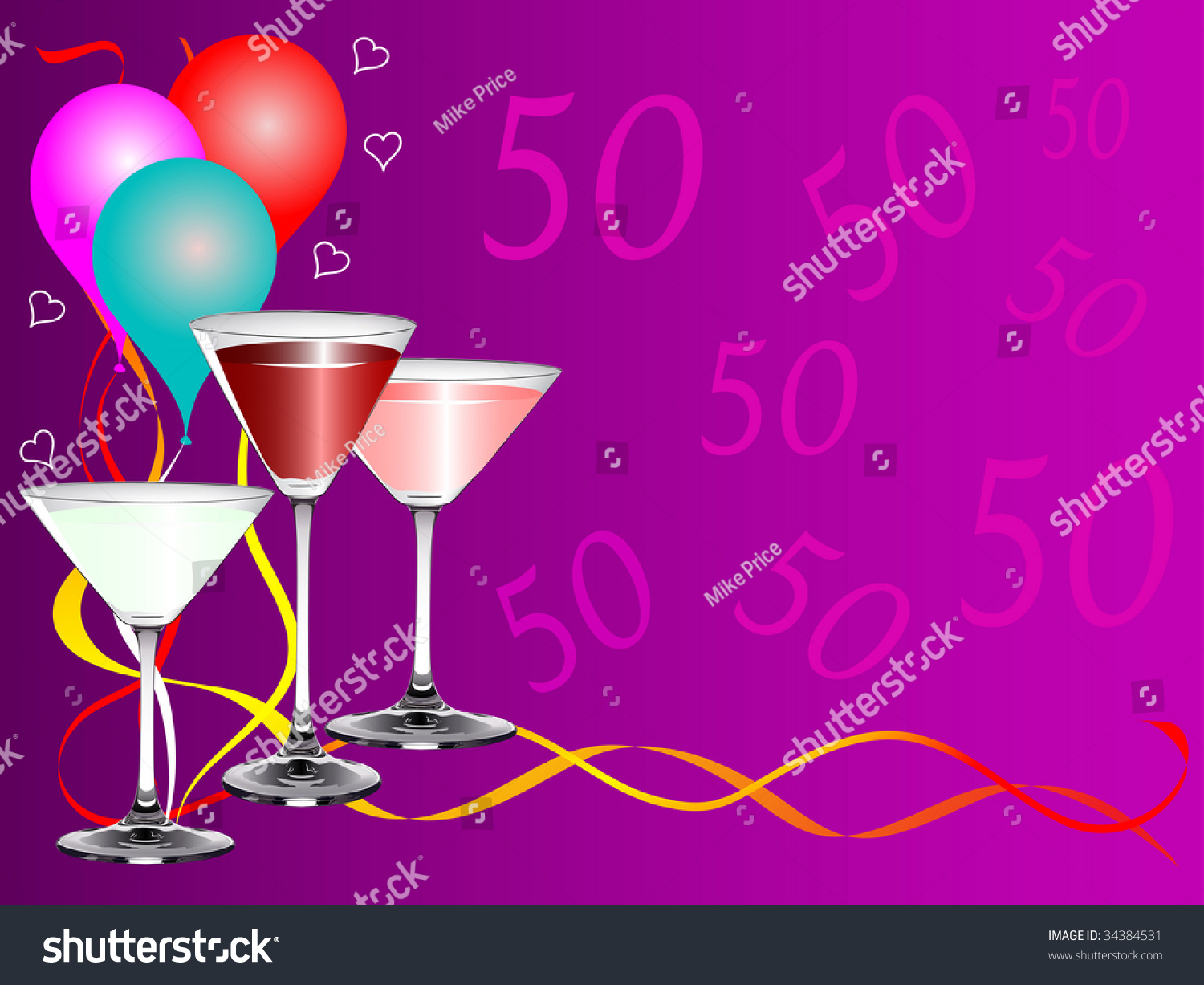 A Fiftieth Birthday Party Background Template With Drinks Glasses And Balloons