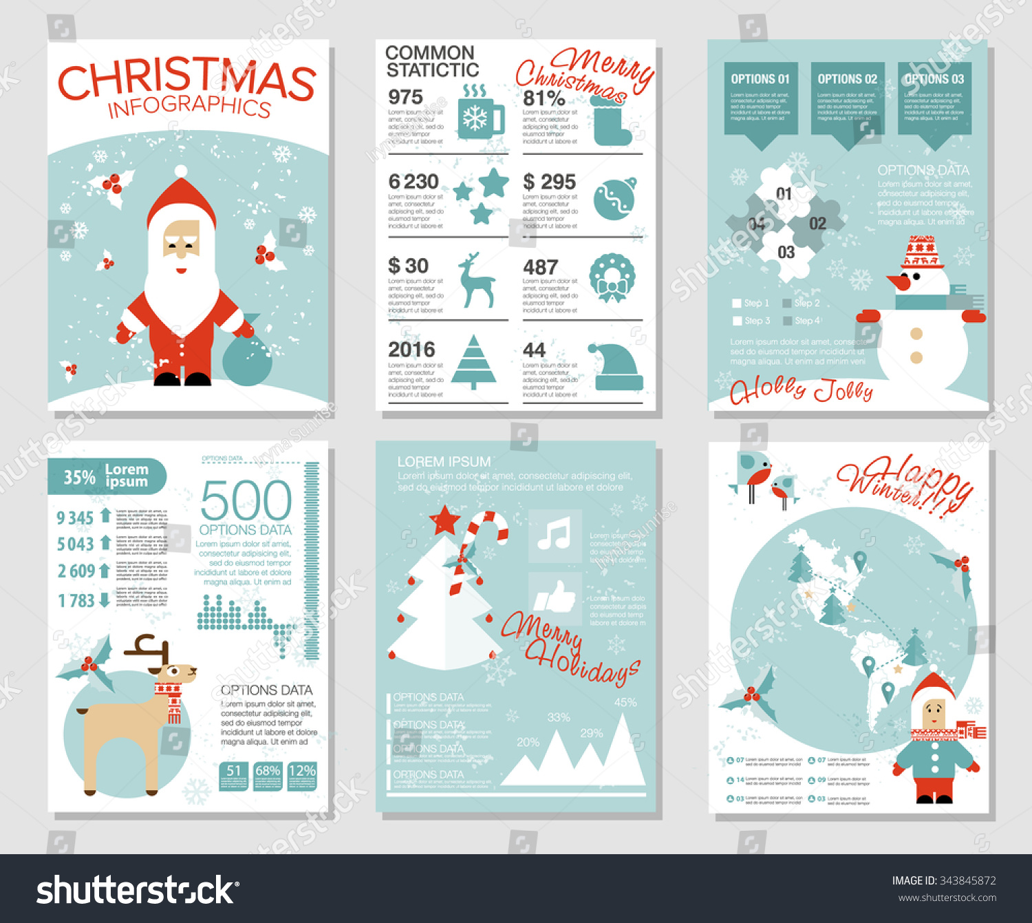Collection 6 Christmas Cards Infographics Templates Stock Vector Tree Diagram Of With Santa Deer Snowman Birds