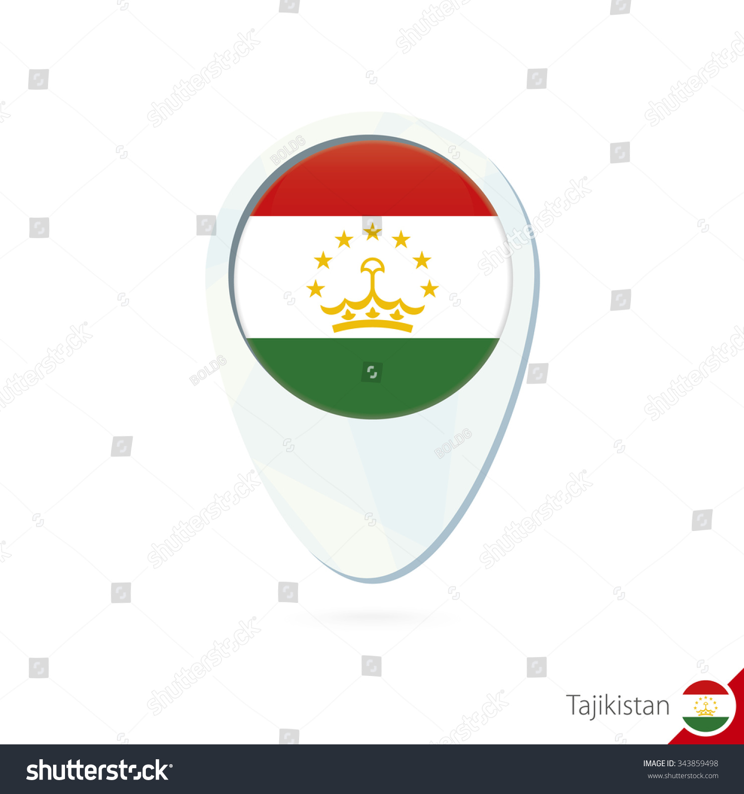 Tajikistan Flag Location Map Pin Icon Stock Photo Photo Vector