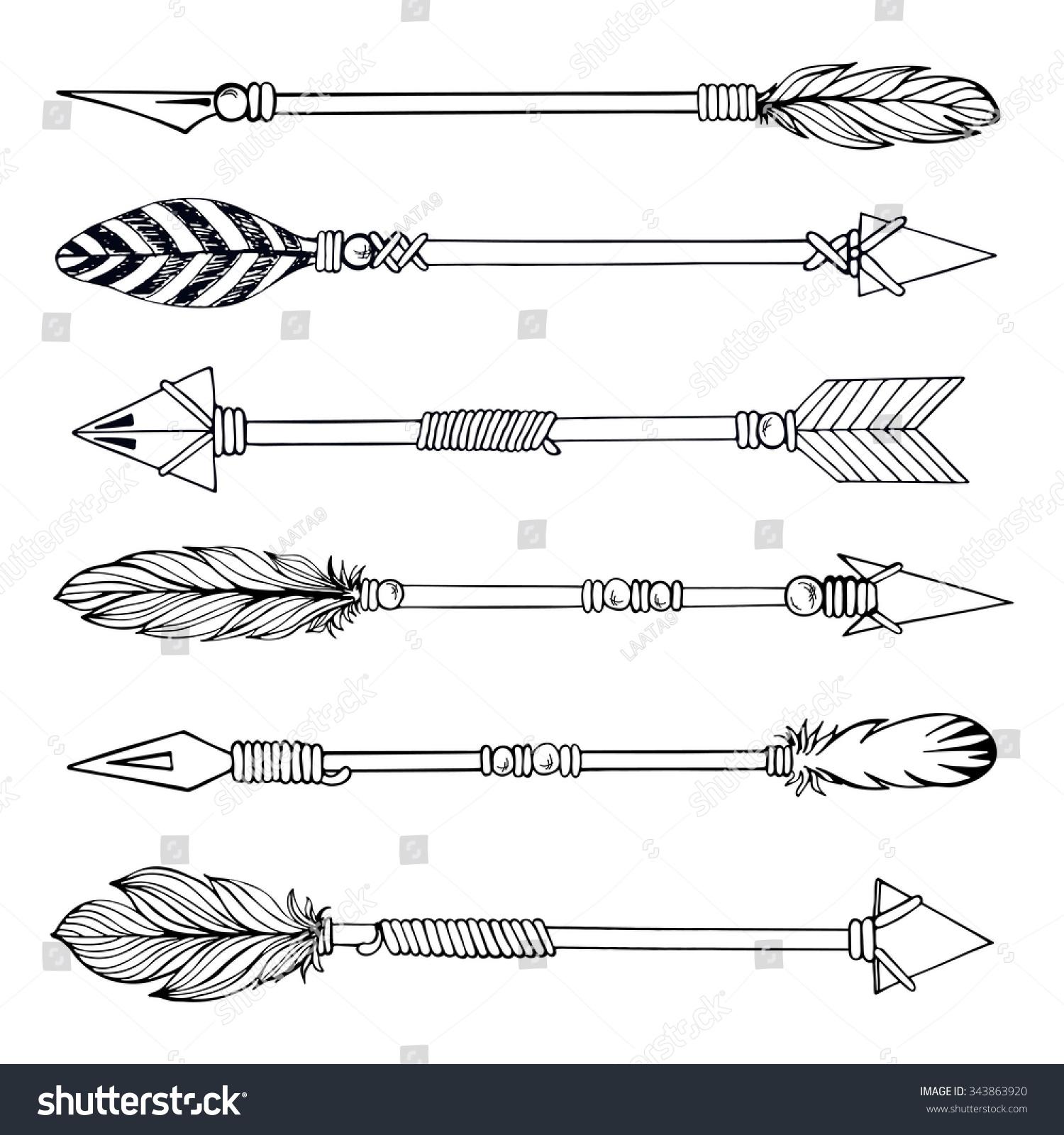 Tribal Indian Arrow Set Ethnic Hand Stock Vector 343863920 ...