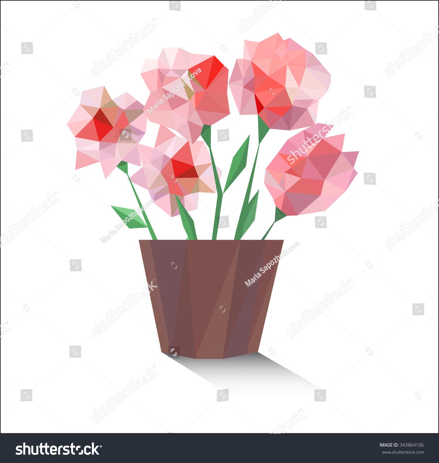 Vector Polygonal Flower Pot Stock Vector Royalty Free 343864106