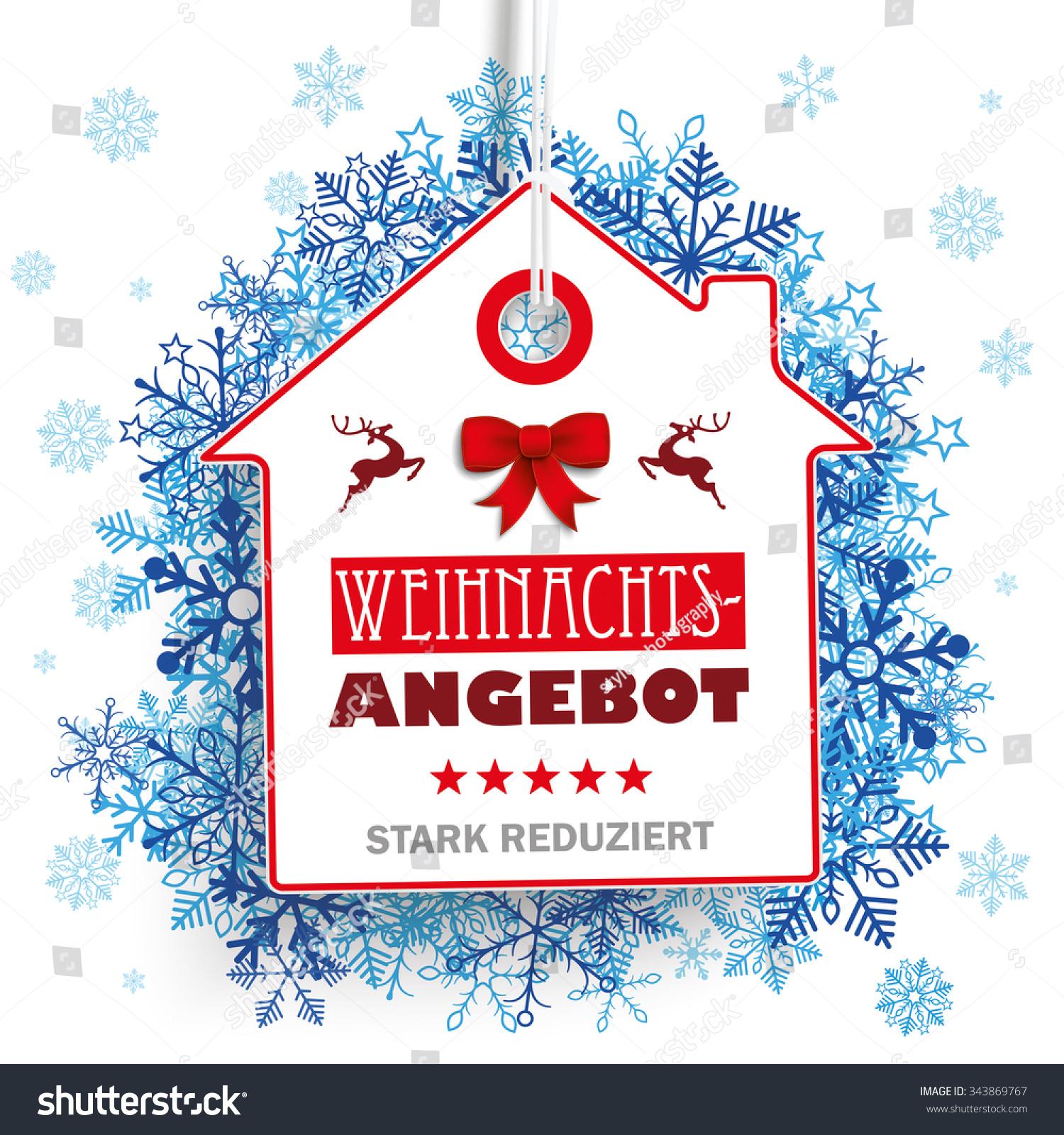 german text weihnachtsangebot stark reduziert translate stock vector 343869767 shutterstock