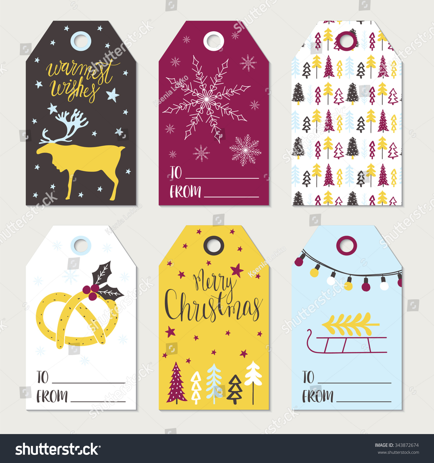 CHRISTMAS GIFT TAGS STICKERS LABELS Template Stock Vector (Royalty ...