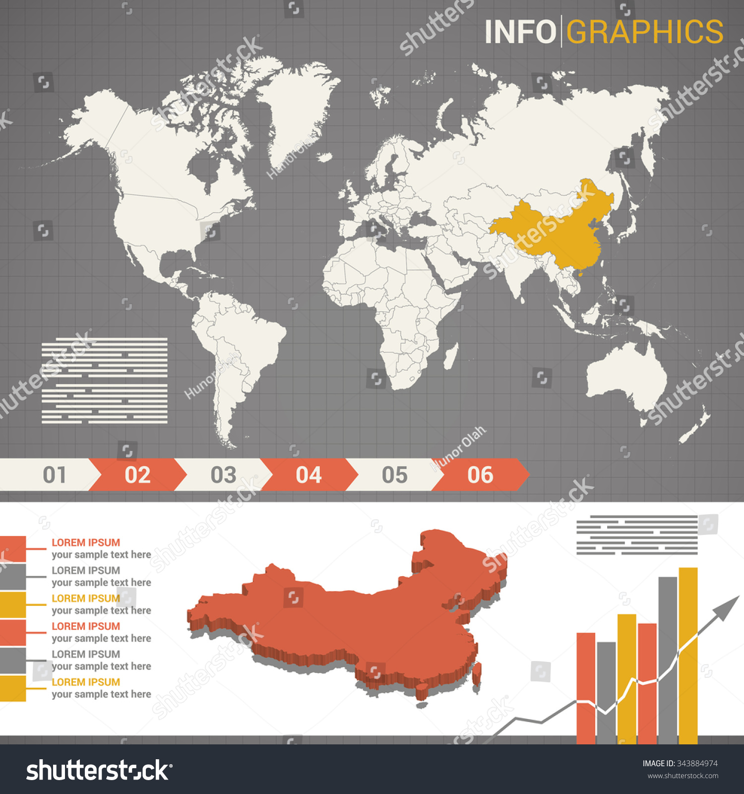World map infographic elements 3 d map stock photo photo vector world map and infographic elements with the 3d map of china gumiabroncs Gallery