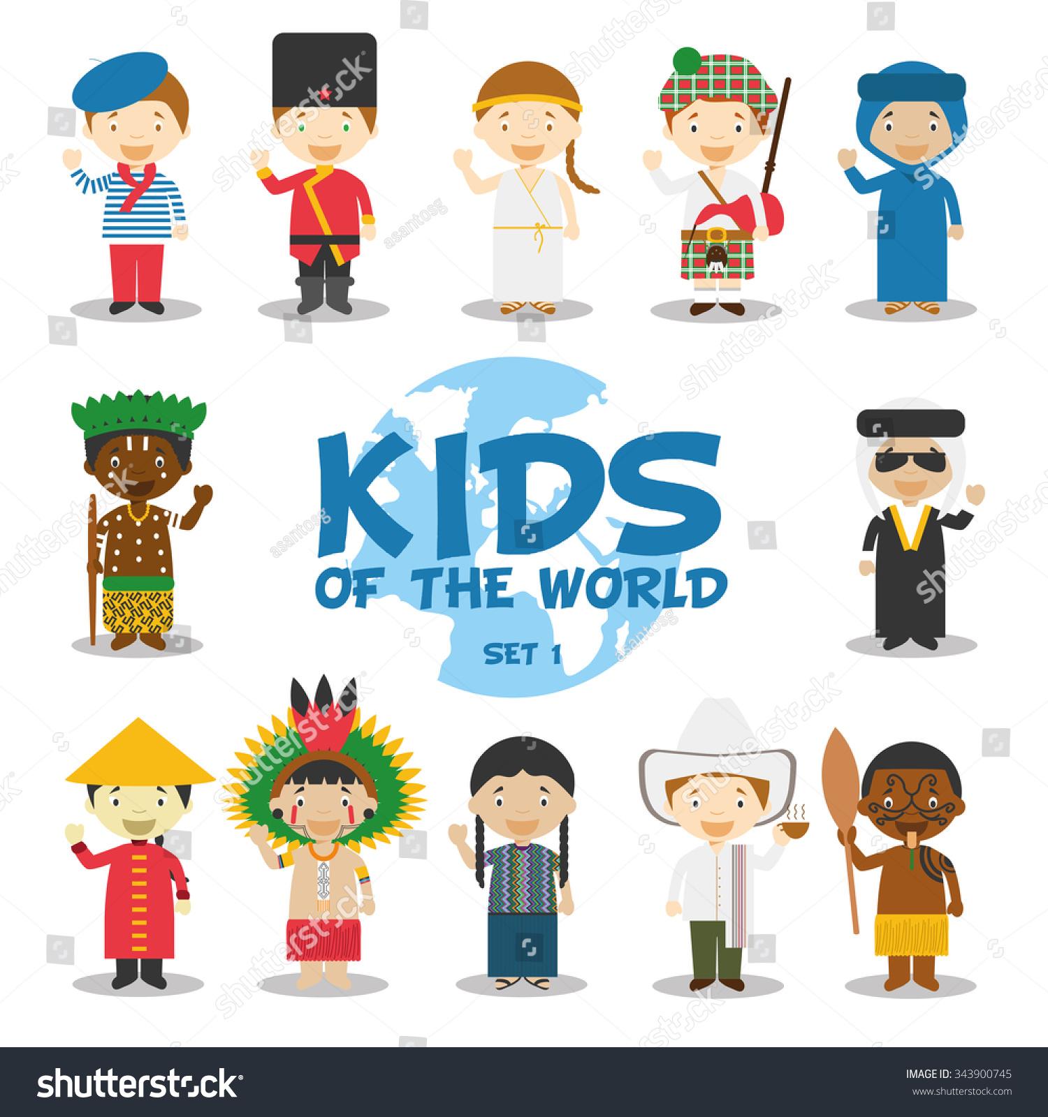 kids world vector illustration nationalities set stock vector