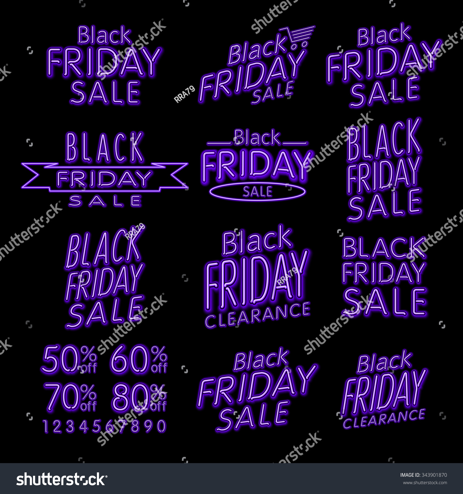 Black Friday Designs NEON Retro Style Elements Vintage Sale Clearance Set Black Friday retro light frame ART