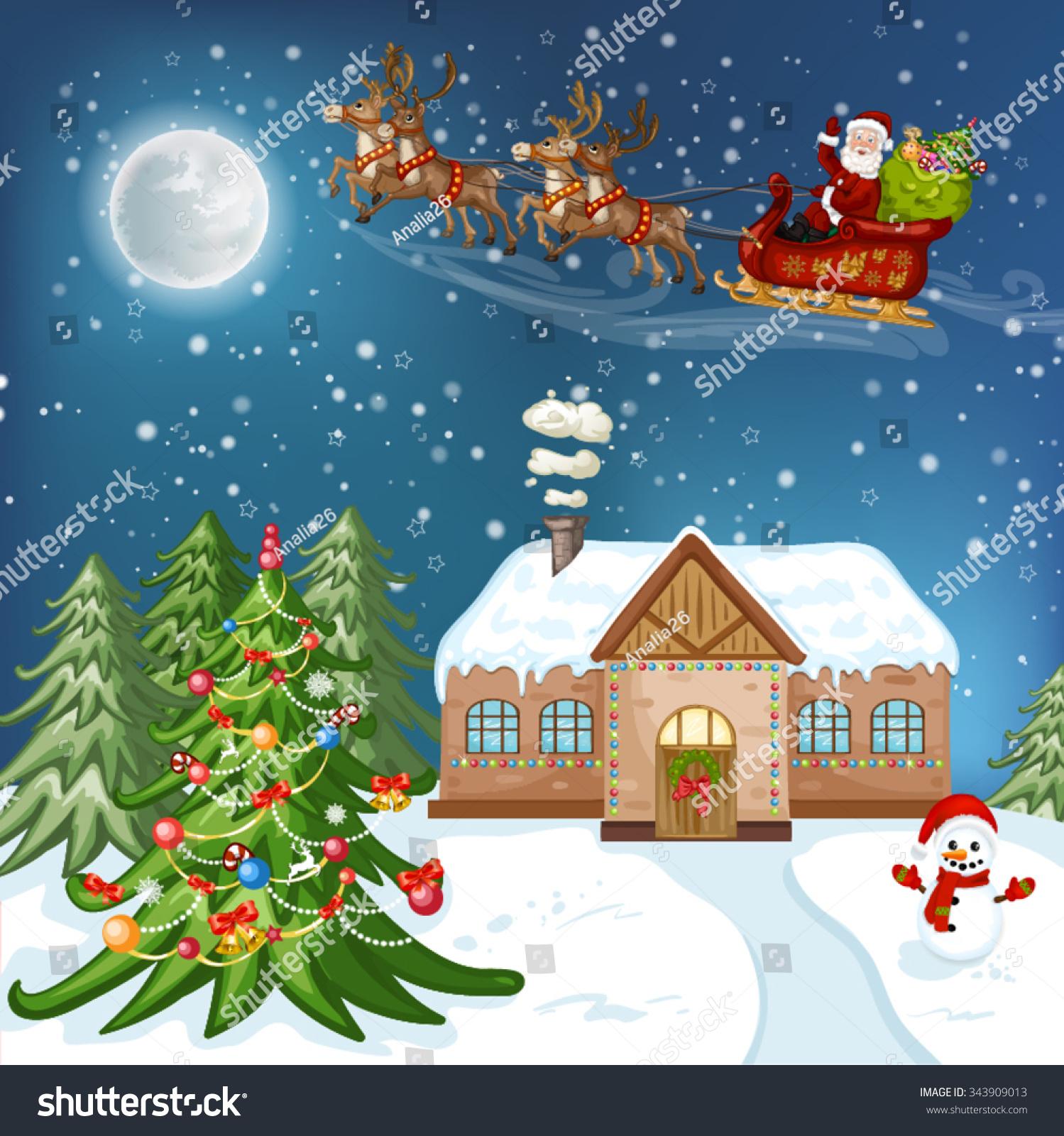 Merry Christmas Card Illustration Christmas House Stock Vector Royalty Free 343909013