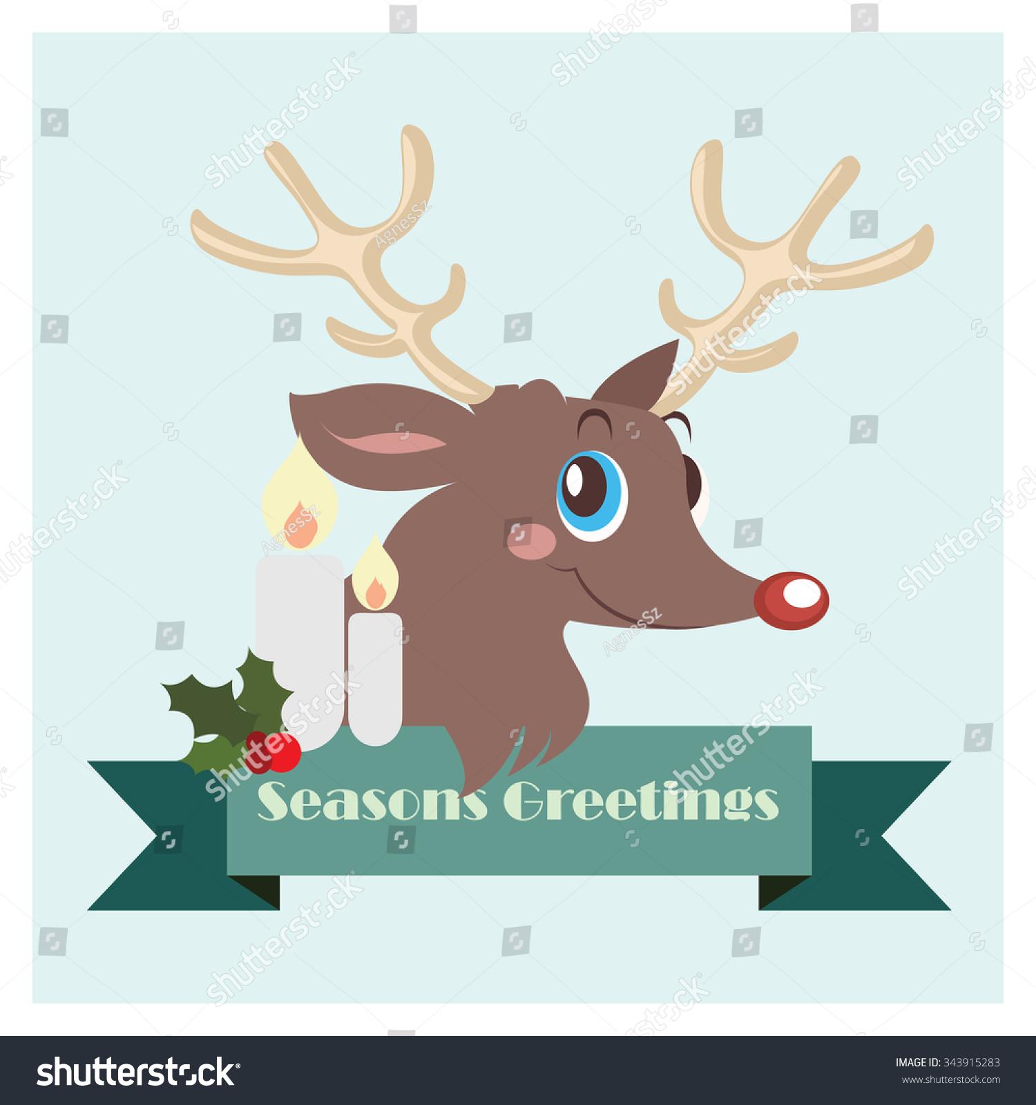 Reindeer seasons greetings banner stock vector 343915283 reindeer with seasons greetings banner kristyandbryce Choice Image
