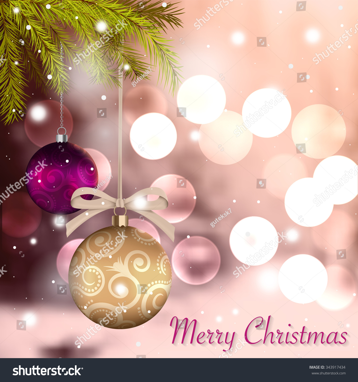 Merry christmas holidays card gold color stock vector 343917434 merry christmas holidays card in gold color with colorful baubles and christmas tree twigs against rose kristyandbryce Image collections