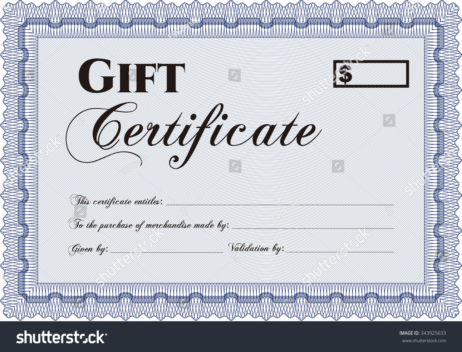 retro gift certificate template nice design stock vector  retro gift certificate template nice design linear background detailed