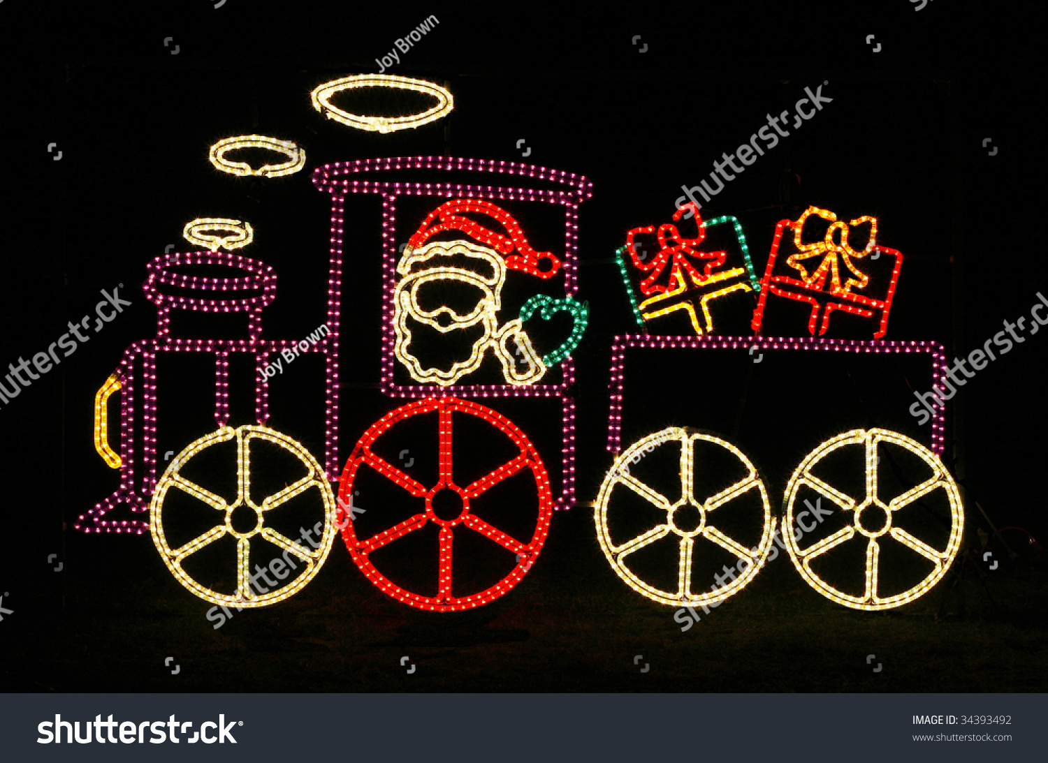 santa in train outdoor holiday decoration with lights