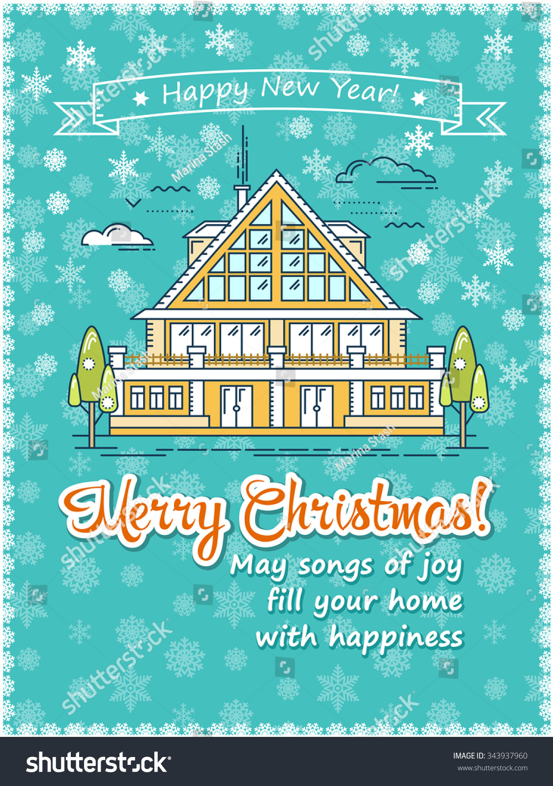 christmas greeting card poster template flat line vector save to a lightbox