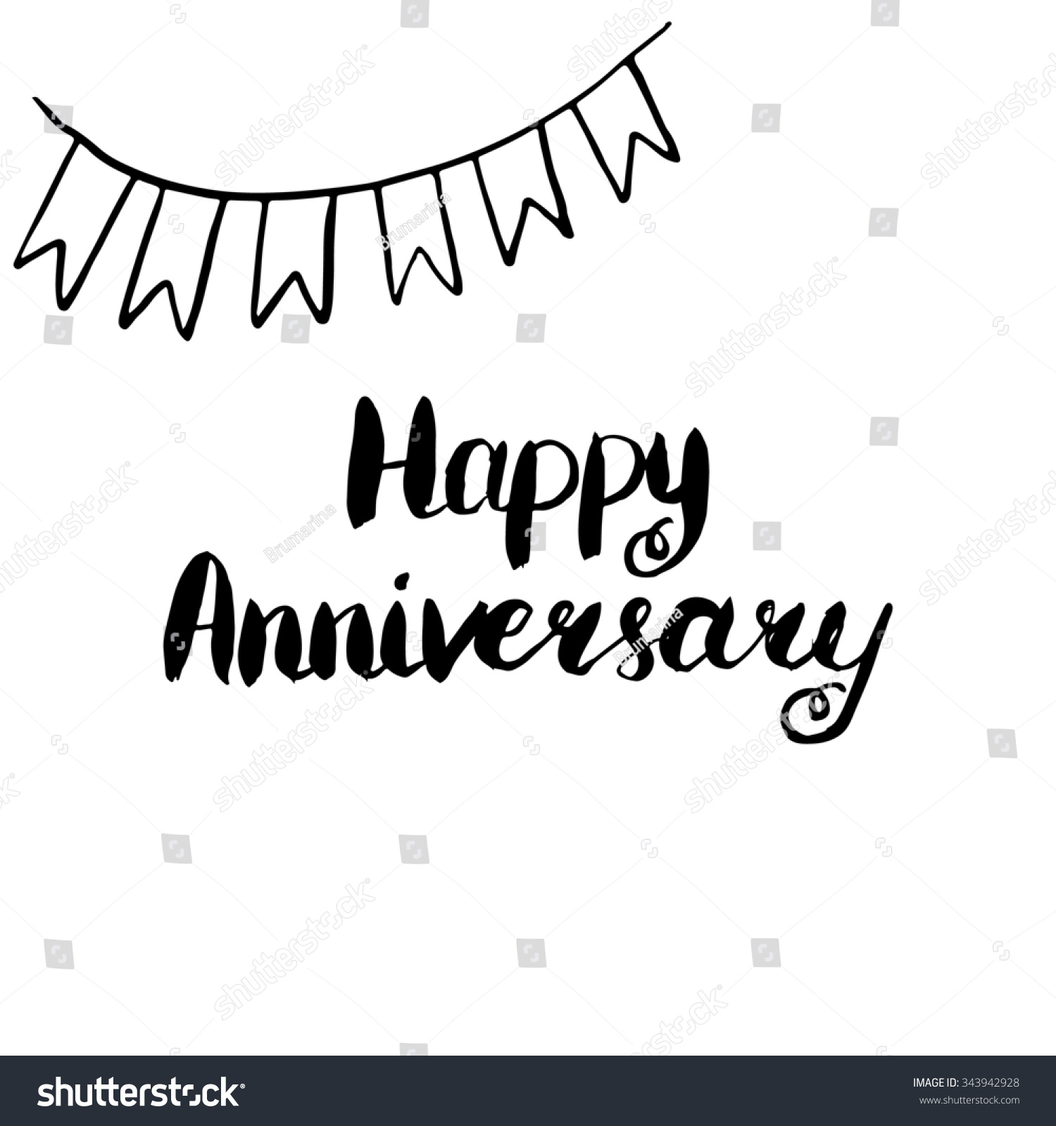 Happy anniversary conceptual handwritten phrase hand stock
