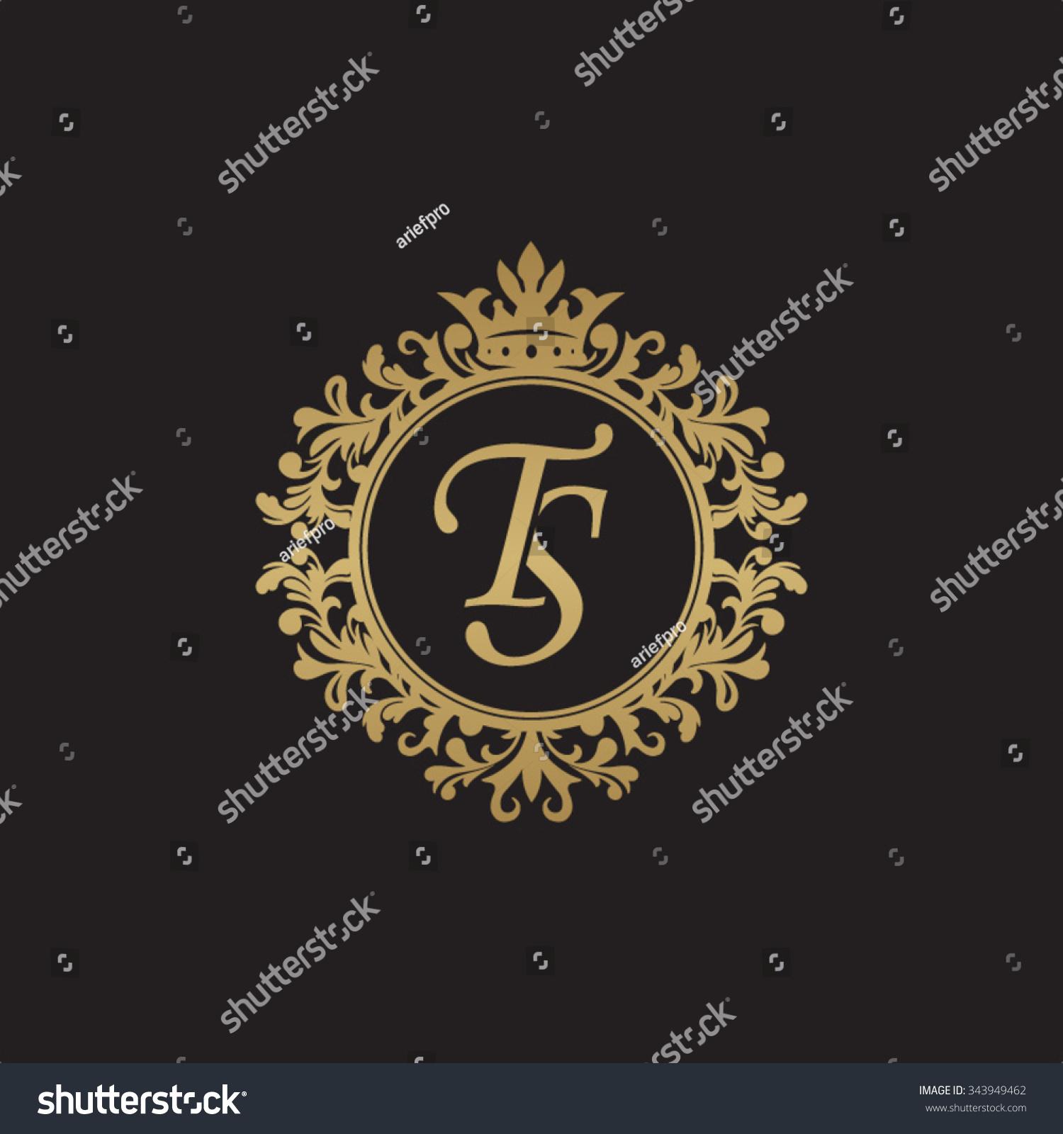 Tj initial luxury ornament monogram logo stock vector - Ts Initial Luxury Ornament Monogram Logo