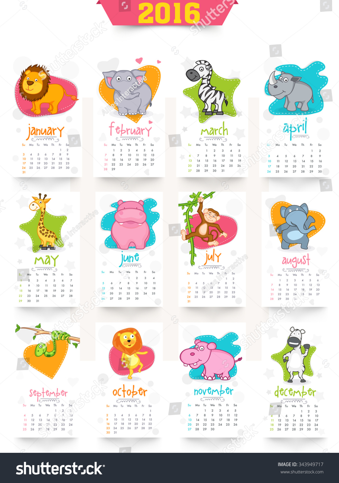 Year Calendar Animal : Royalty free stylish yearly calendar design