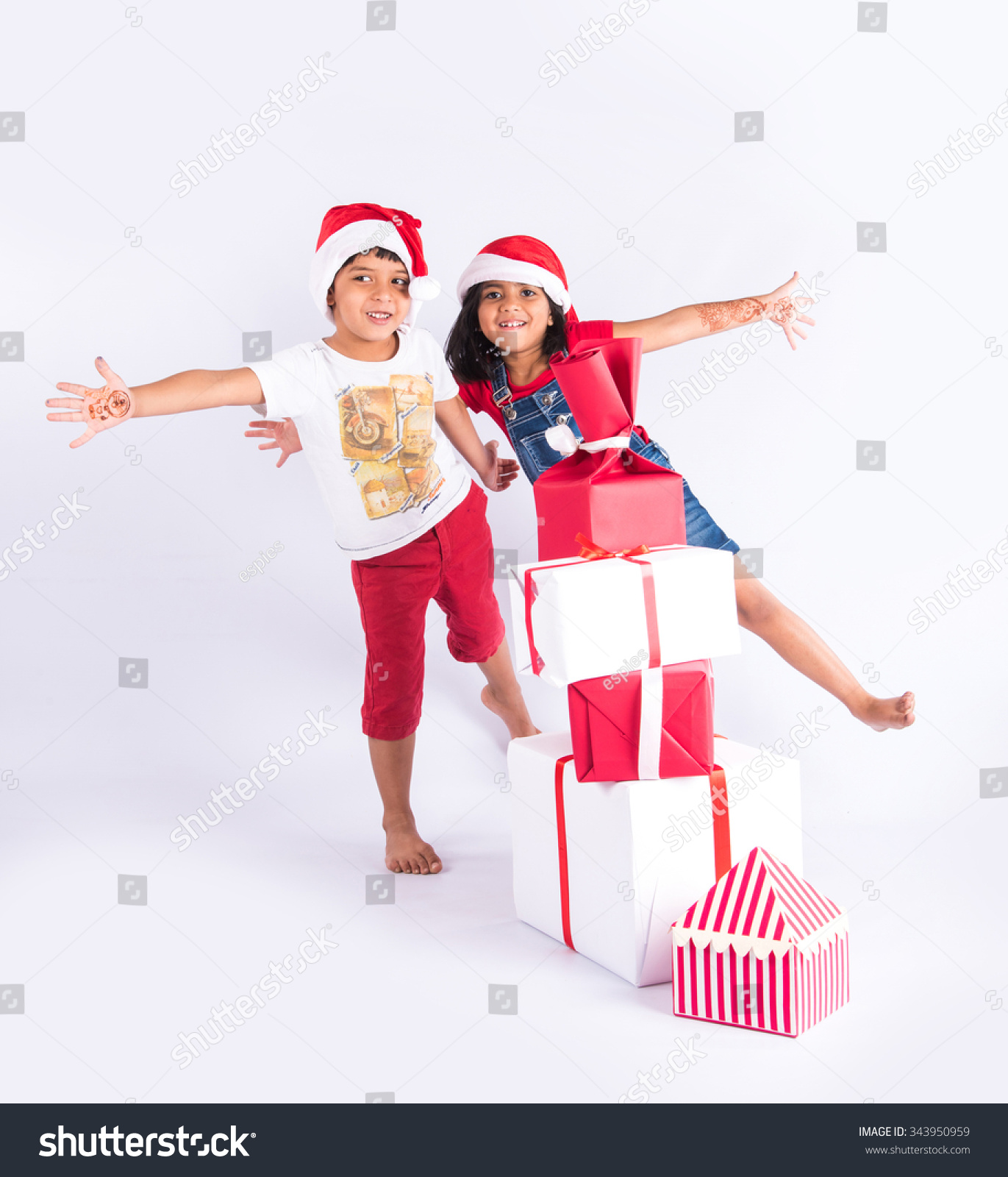Indian Kids Christmas Gifts Isolated Over Stock Photo (Edit Now ...