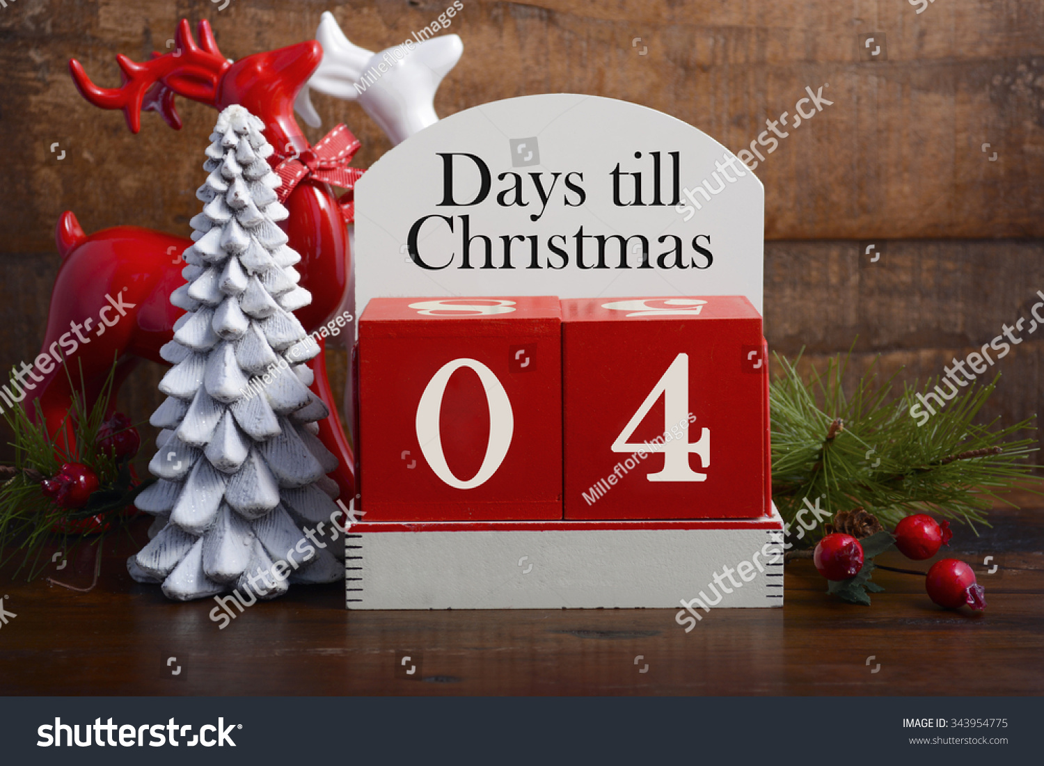4 Days Till Christmas Vintage Style Stock Photo (Edit Now) 343954775 ...