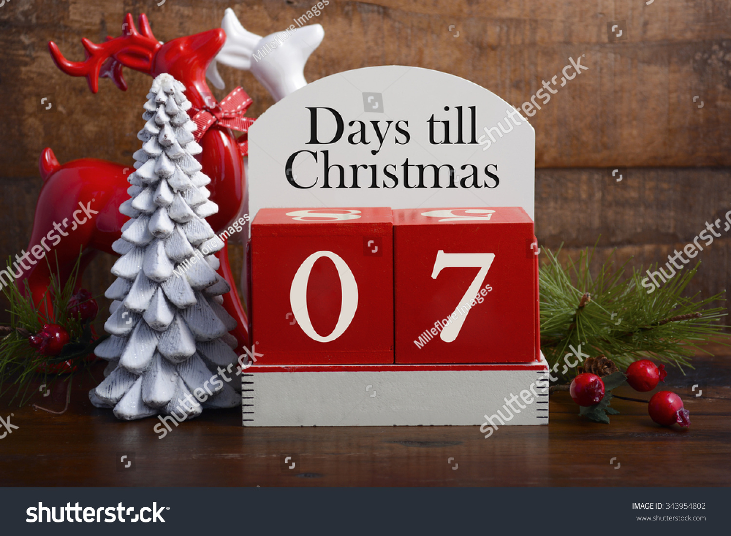 7 Days Till Christmas Vintage Style Stock Photo 343954802 ...