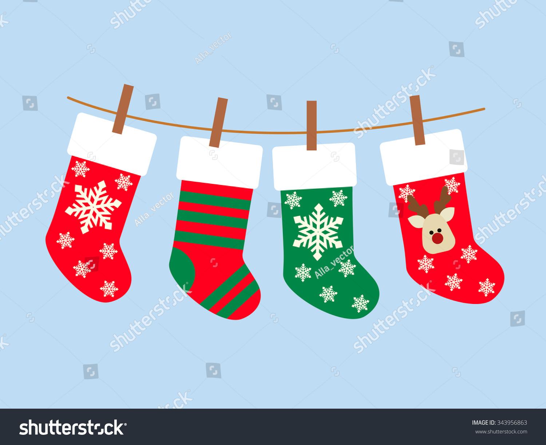 Stock Vector Alliesinteract 11211360: Christmas Socks Vector Background Stock Vector 343956863
