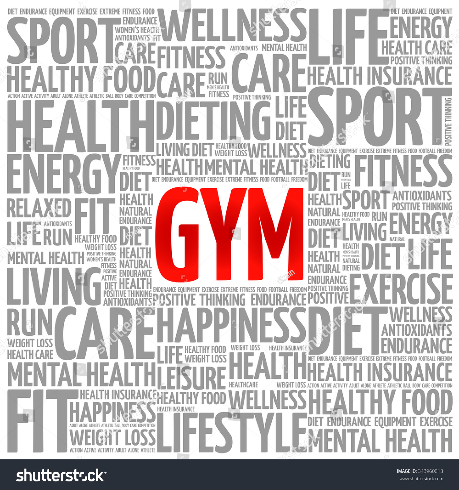 Gym Word Cloud Backgro...