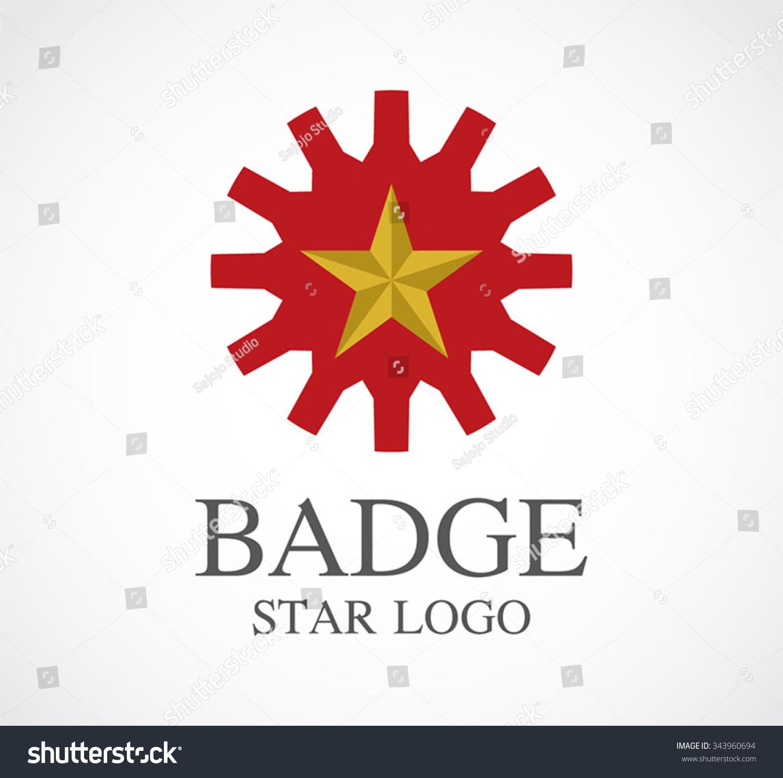 Badge Star Gear Abstract Vector Logo Stock Vector (Royalty