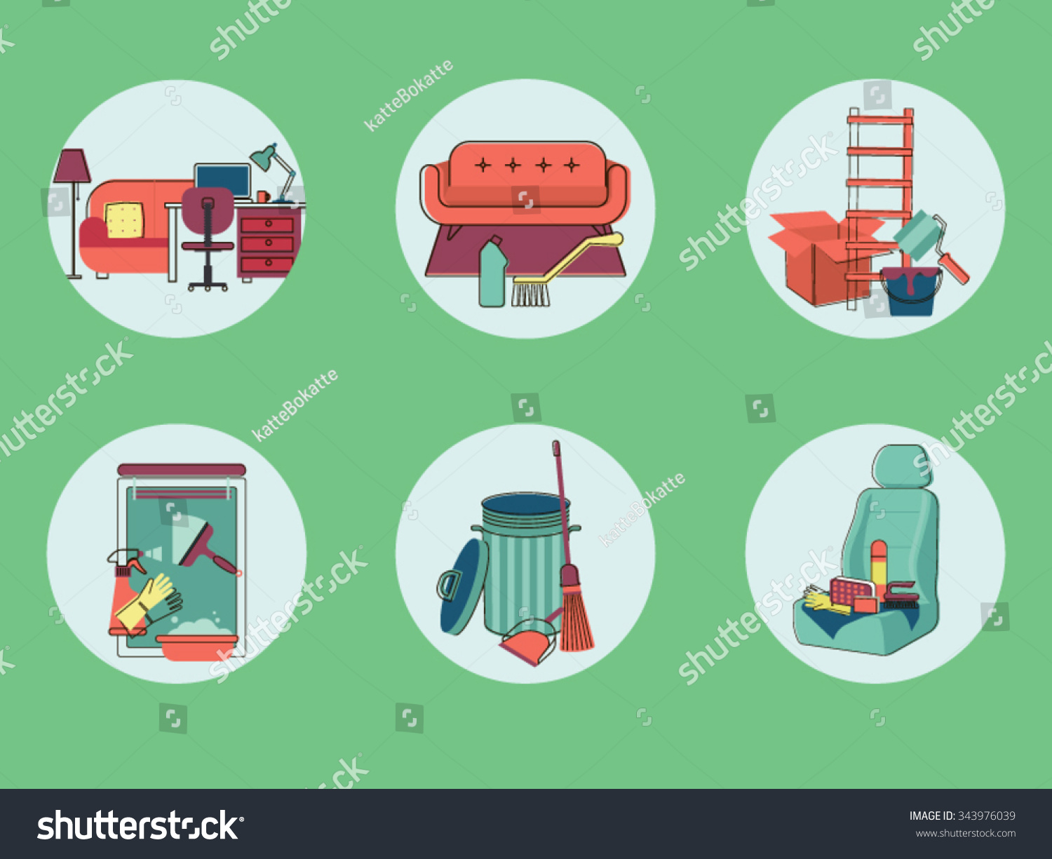Cleaning Tools Vector Graphics Stock 343976039