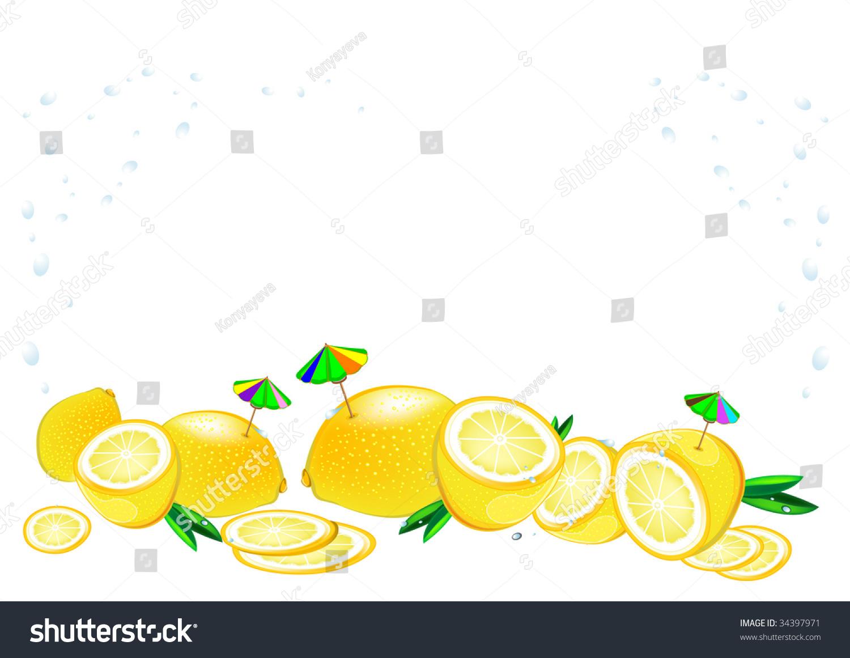 Design Background Cool Fresh Lemon Other Stock Vector