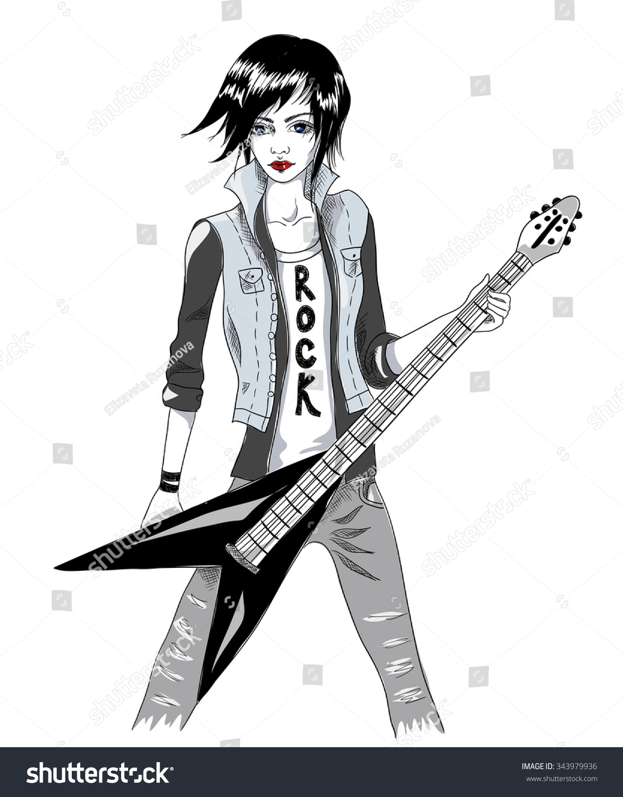 Girl with electric guitar the musician rocker singer vector fashion illustration on white background sketch vector