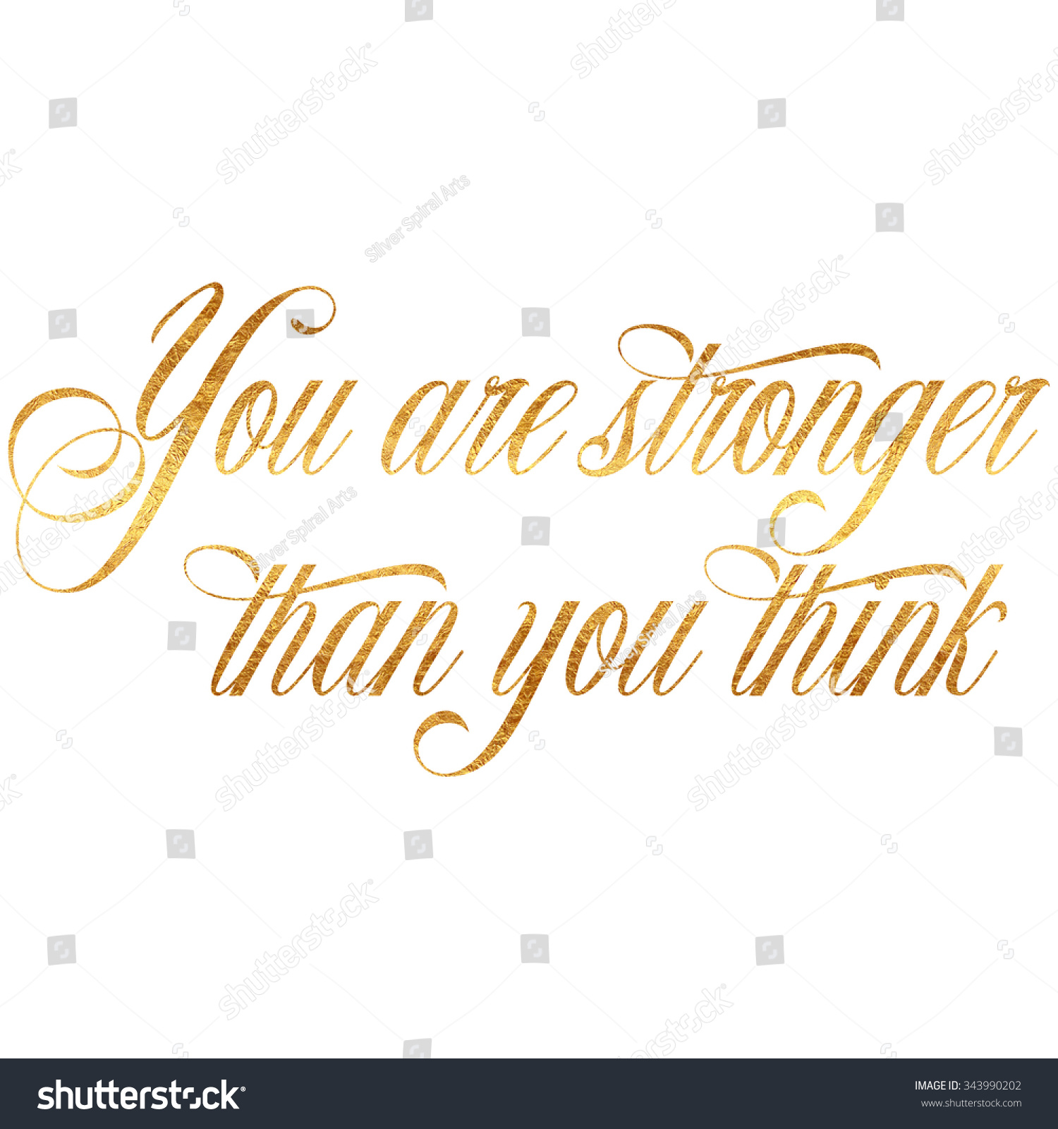 Stronger Than You Think Quote Gold Stock Illustration 343990202