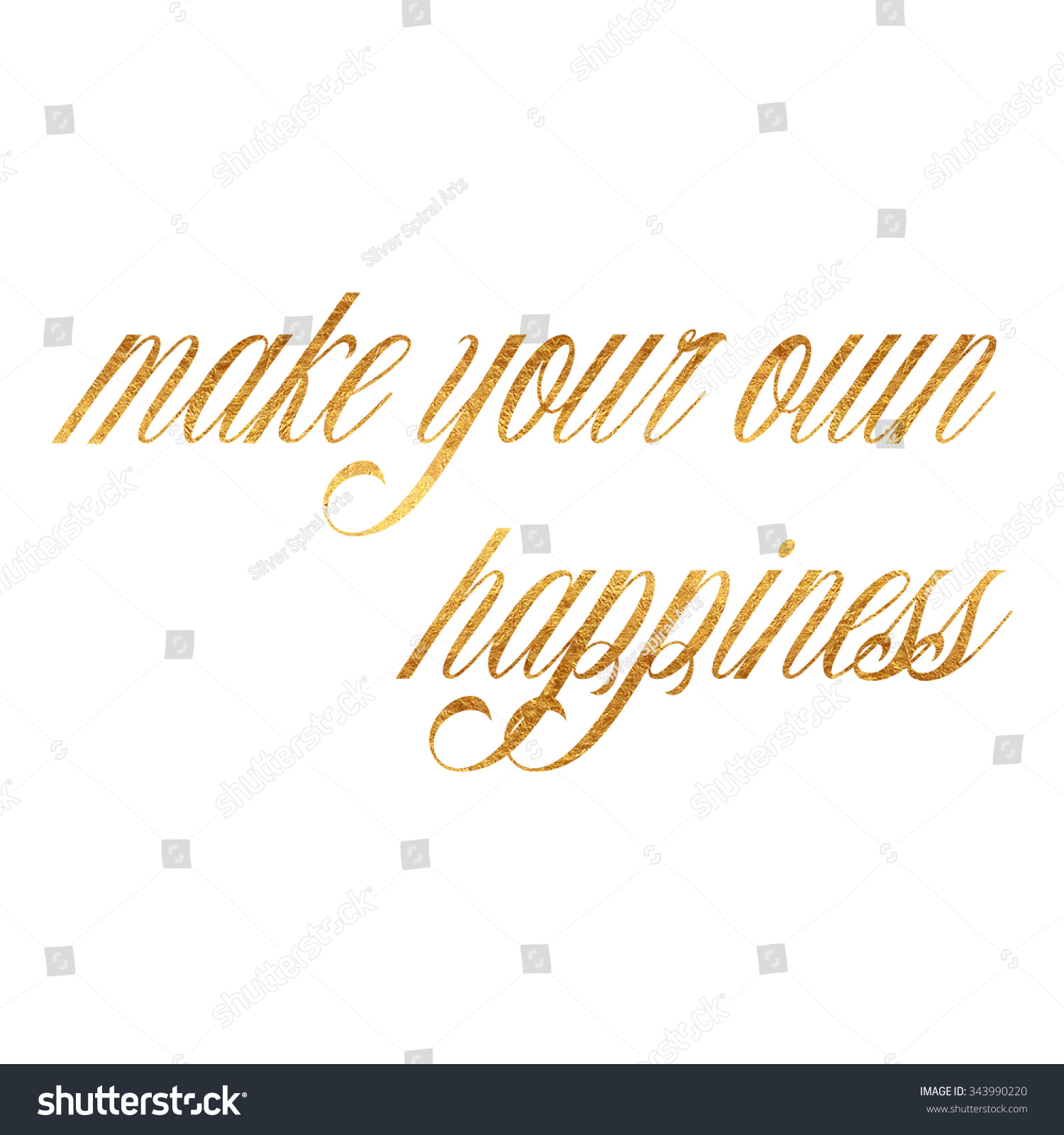 Make Your Own Quote Prepossessing Make Your Own Happiness Quote Gold Stock Illustration 343990220