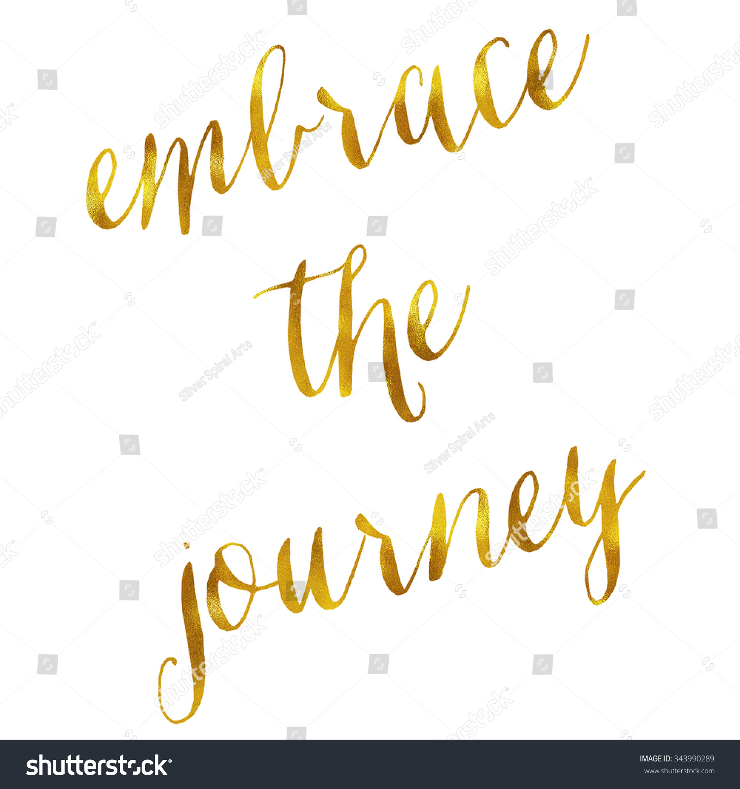 Journey Quotes Embrace Journey Quote Gold Faux Foil Stock Illustration 343990289 .