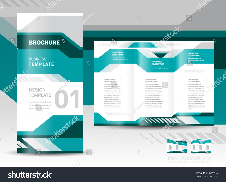 Brochure design template vector tri fold geometric for Technical brochure template