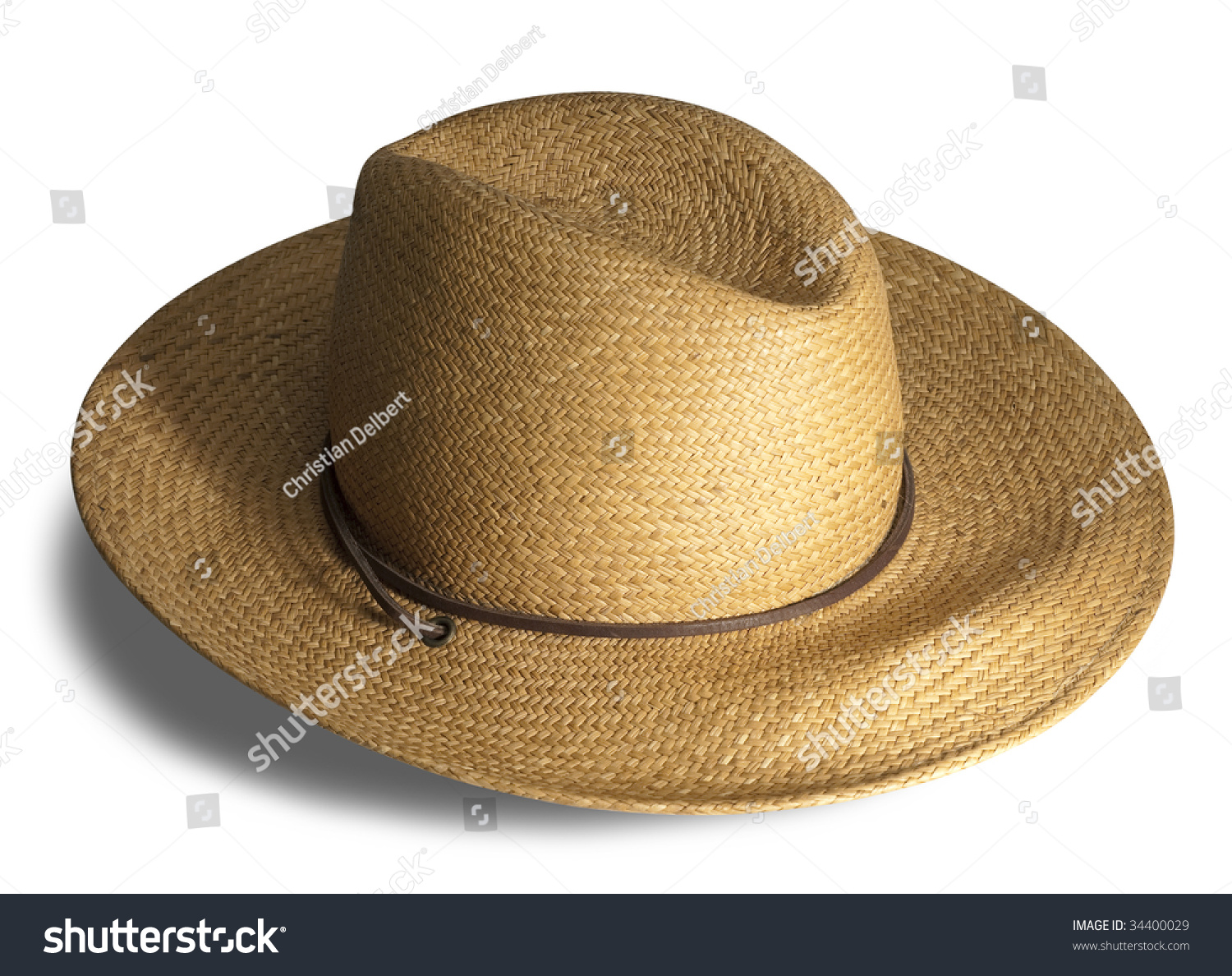 8999f5b9970 Straw Hat Shadow On White Background Stock Photo (Edit Now) 34400029 ...