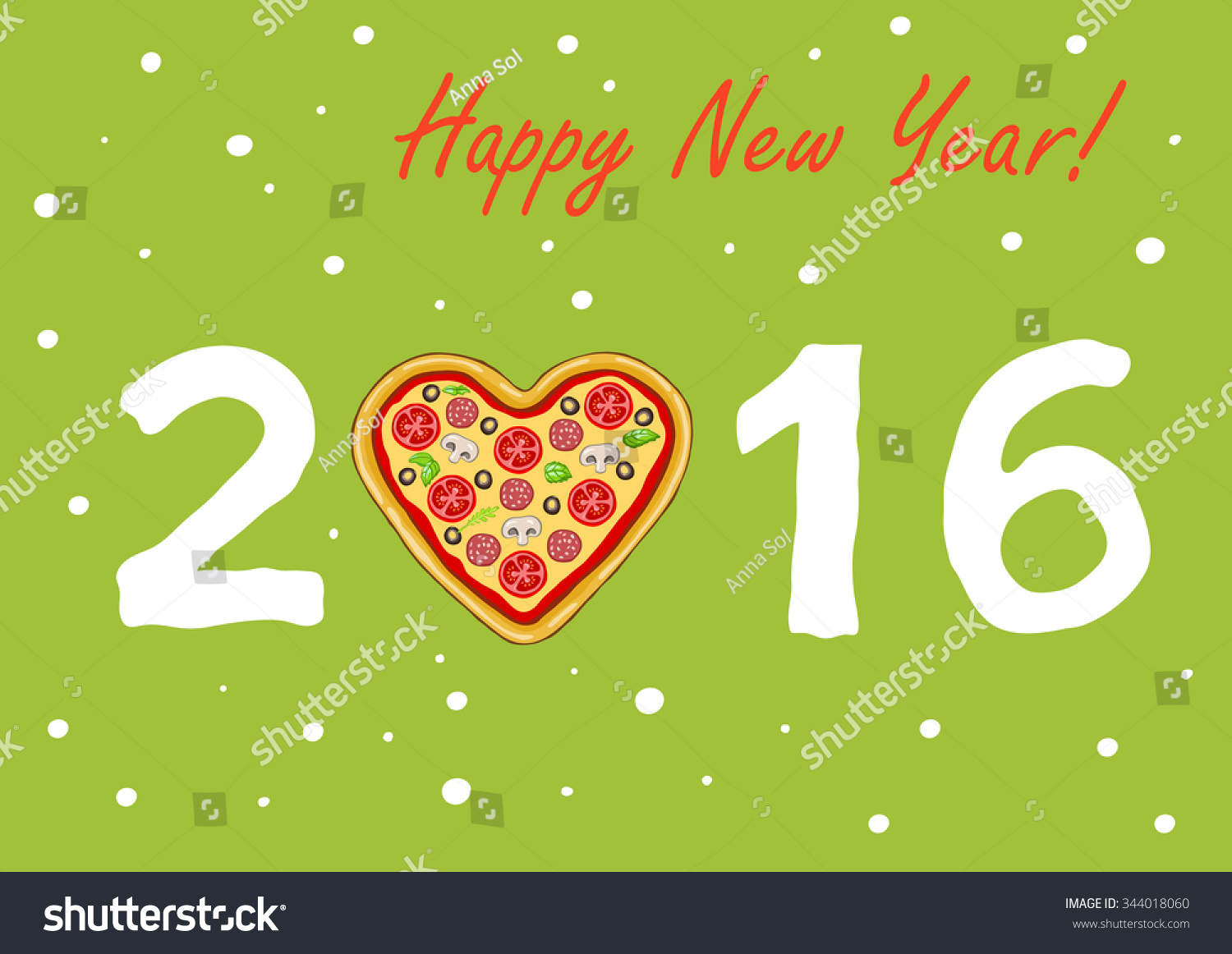 New Years Christmas Card Pizza Shape Stock Vector Royalty Free