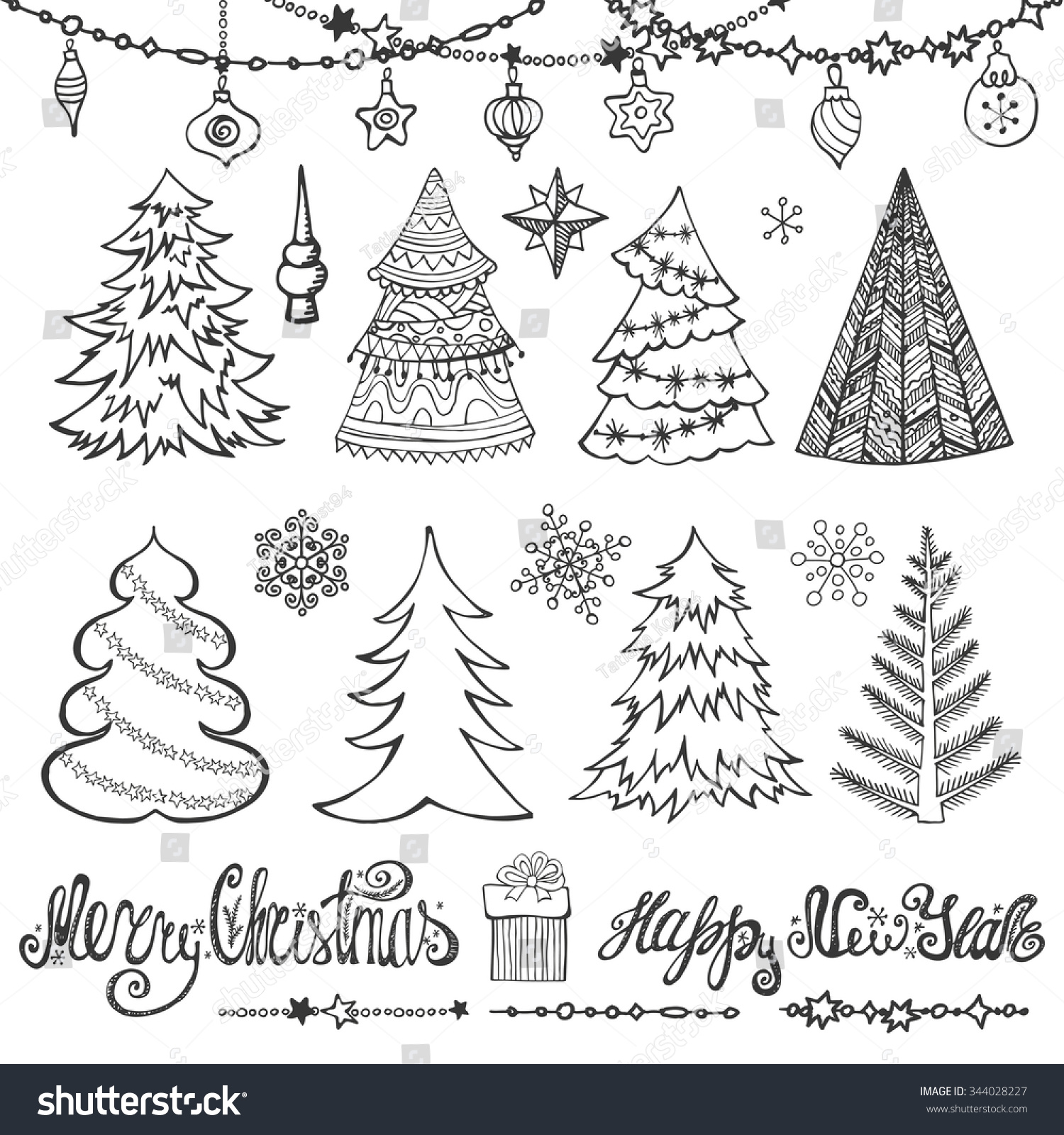 Christmas Treeballslettering Hand Drawn Doodle Decoration ...