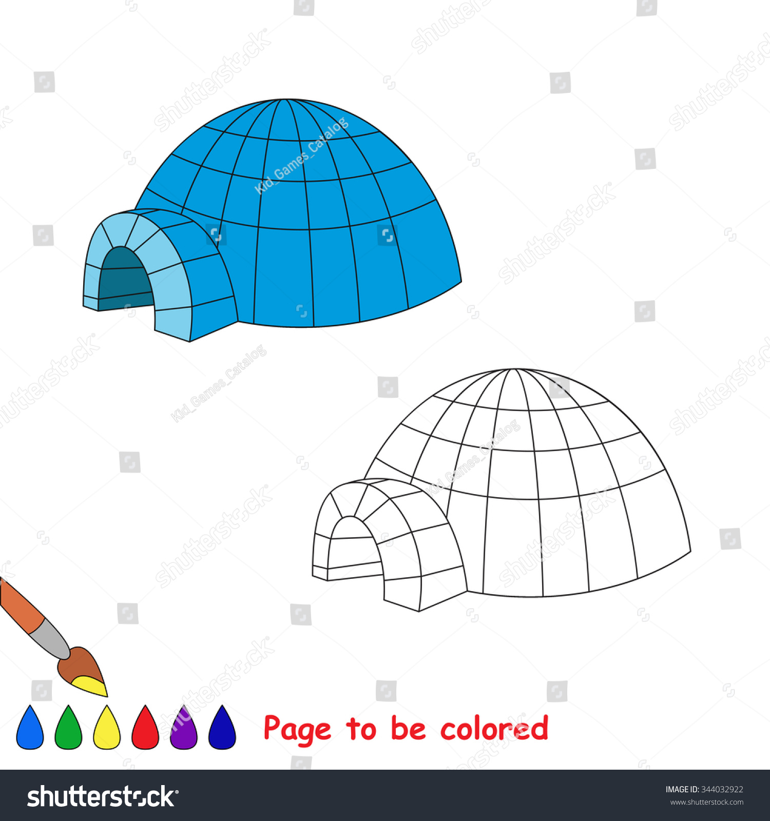 igloo vector cartoon to be colored - Igloo Pictures To Color