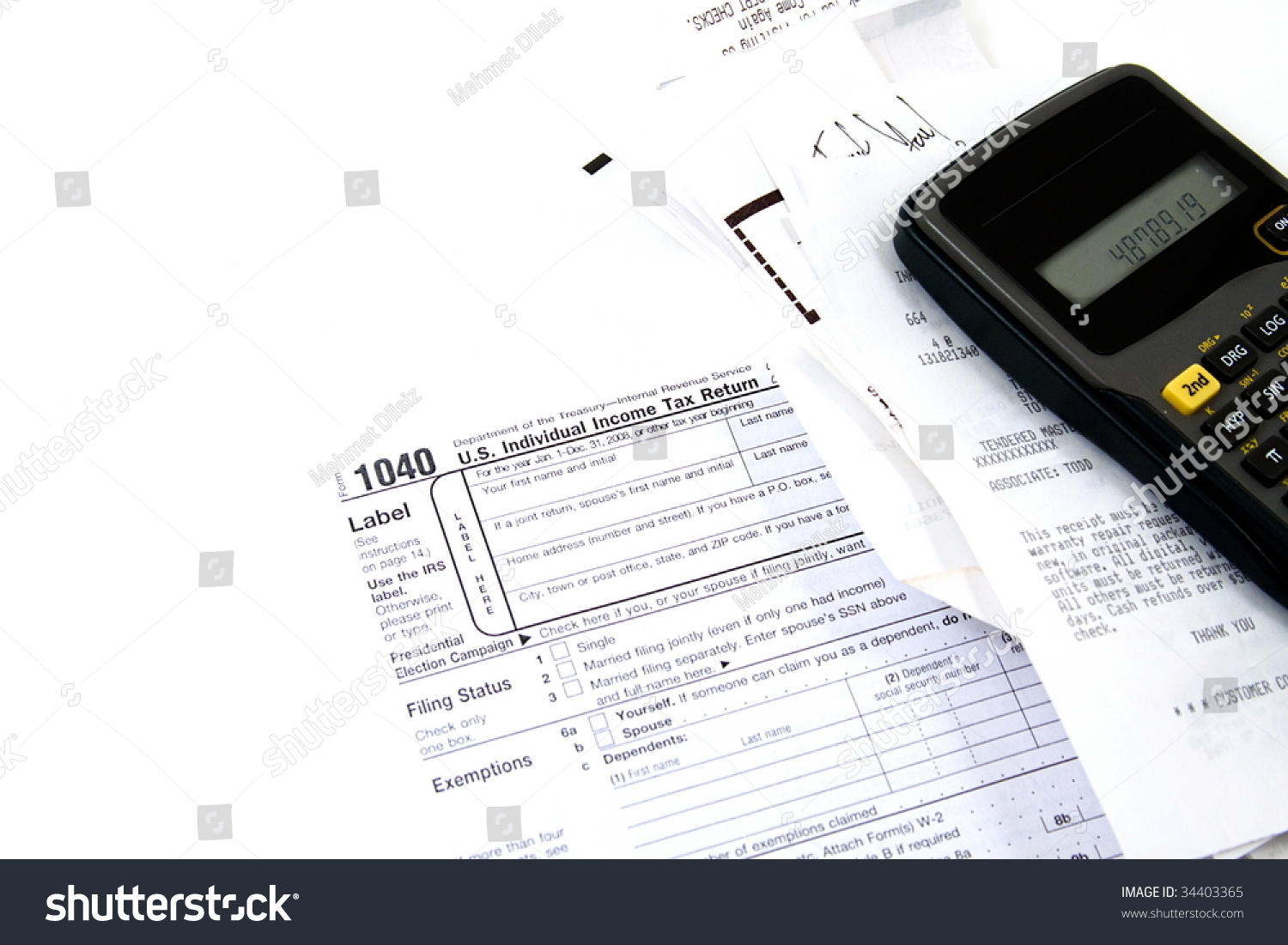 Preparing taxes form 1040 2008 stock photo 34403365 shutterstock preparing taxes form 1040 for 2008 falaconquin