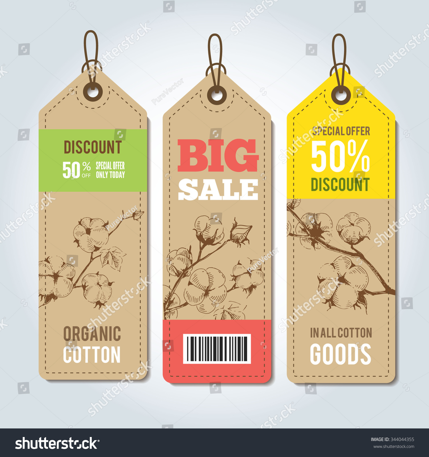 Vector Tags Clothing Template Natural Cotton Vector – Clothing Tag Template